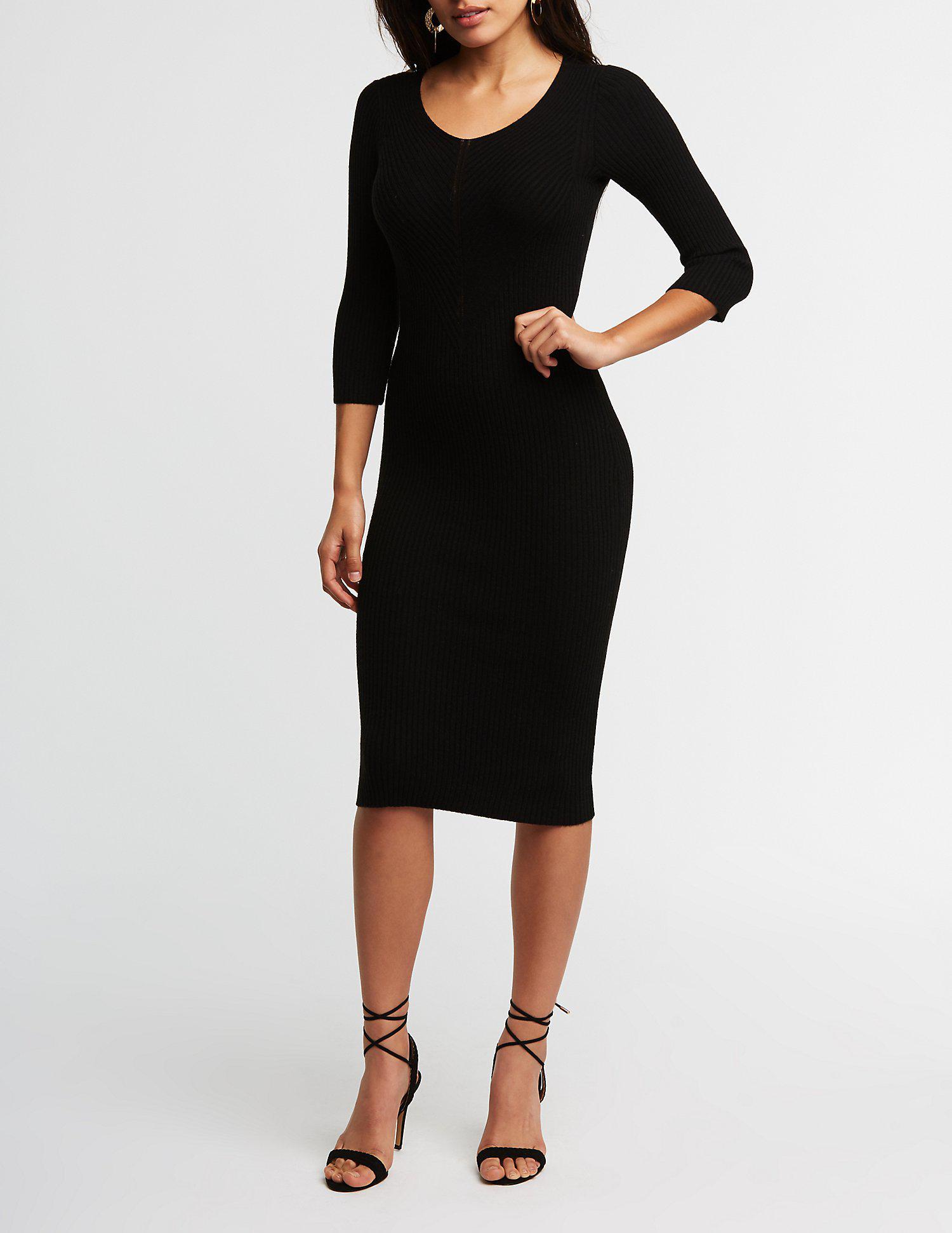 5929e12541 Lyst - Charlotte Russe Ribbed Midi Bodycon Dress in Black