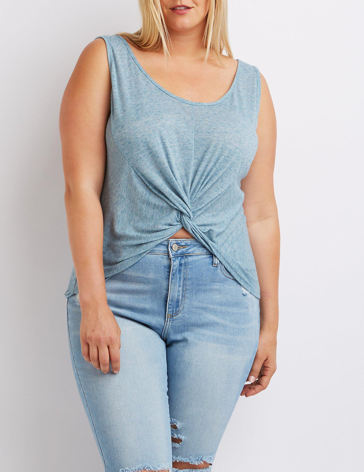 cafa2aff829e2 Lyst - Charlotte Russe Plus Size Knotted Tank Top in Blue
