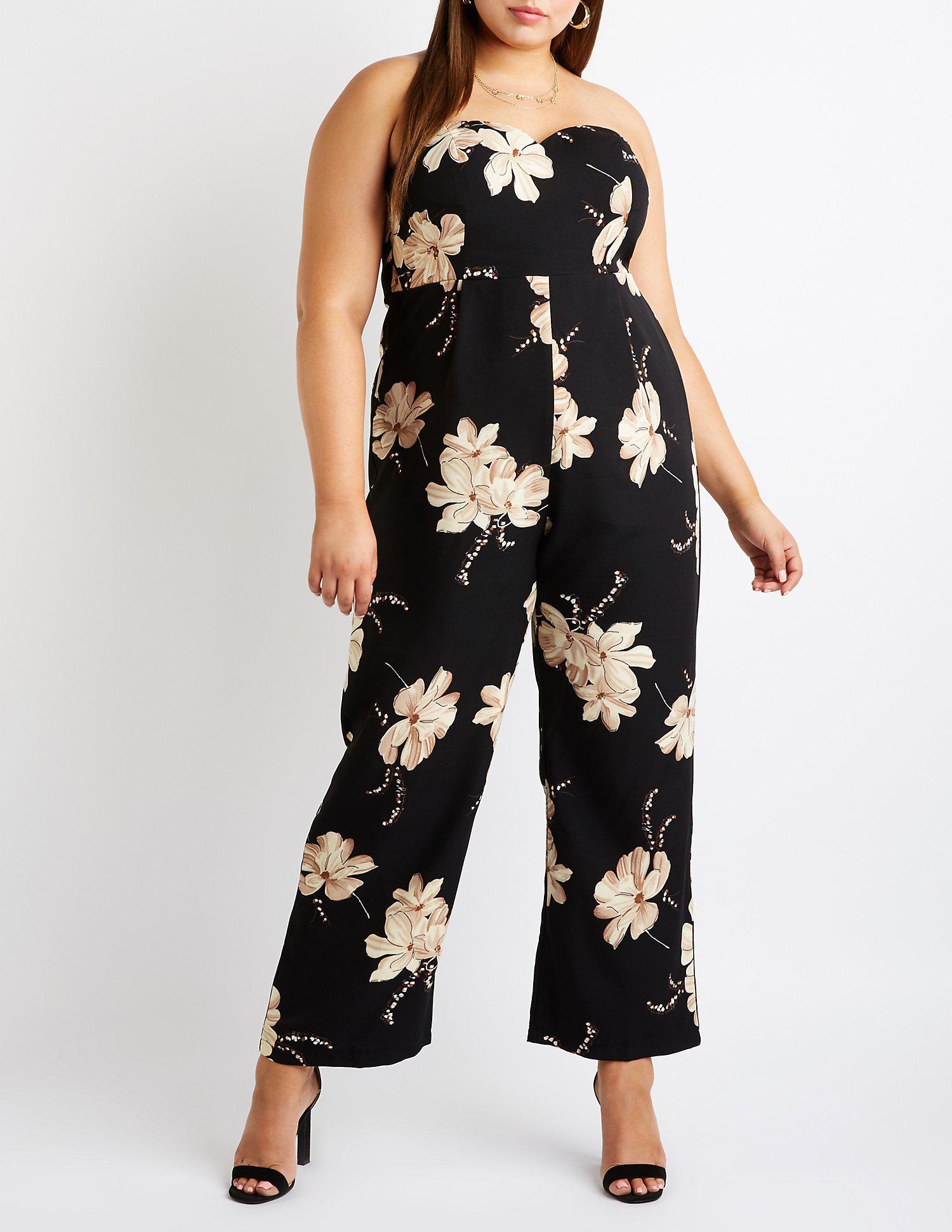 779693647b4 Lyst - Charlotte Russe Plus Size Floral V Neck Jumpsuit in Black ...
