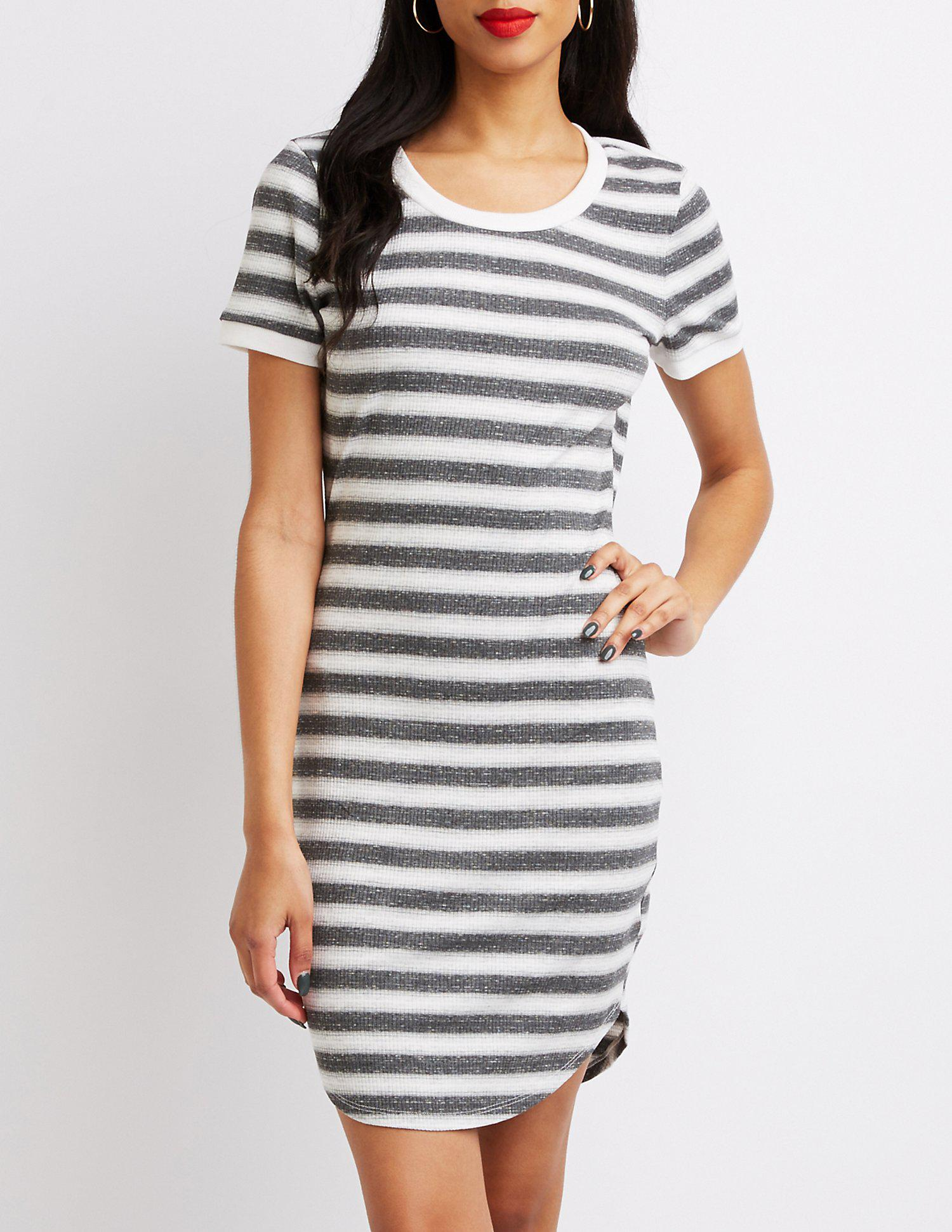 d3a01151a9 Lyst - Charlotte Russe Striped Ringer Bodycon Dress in Gray
