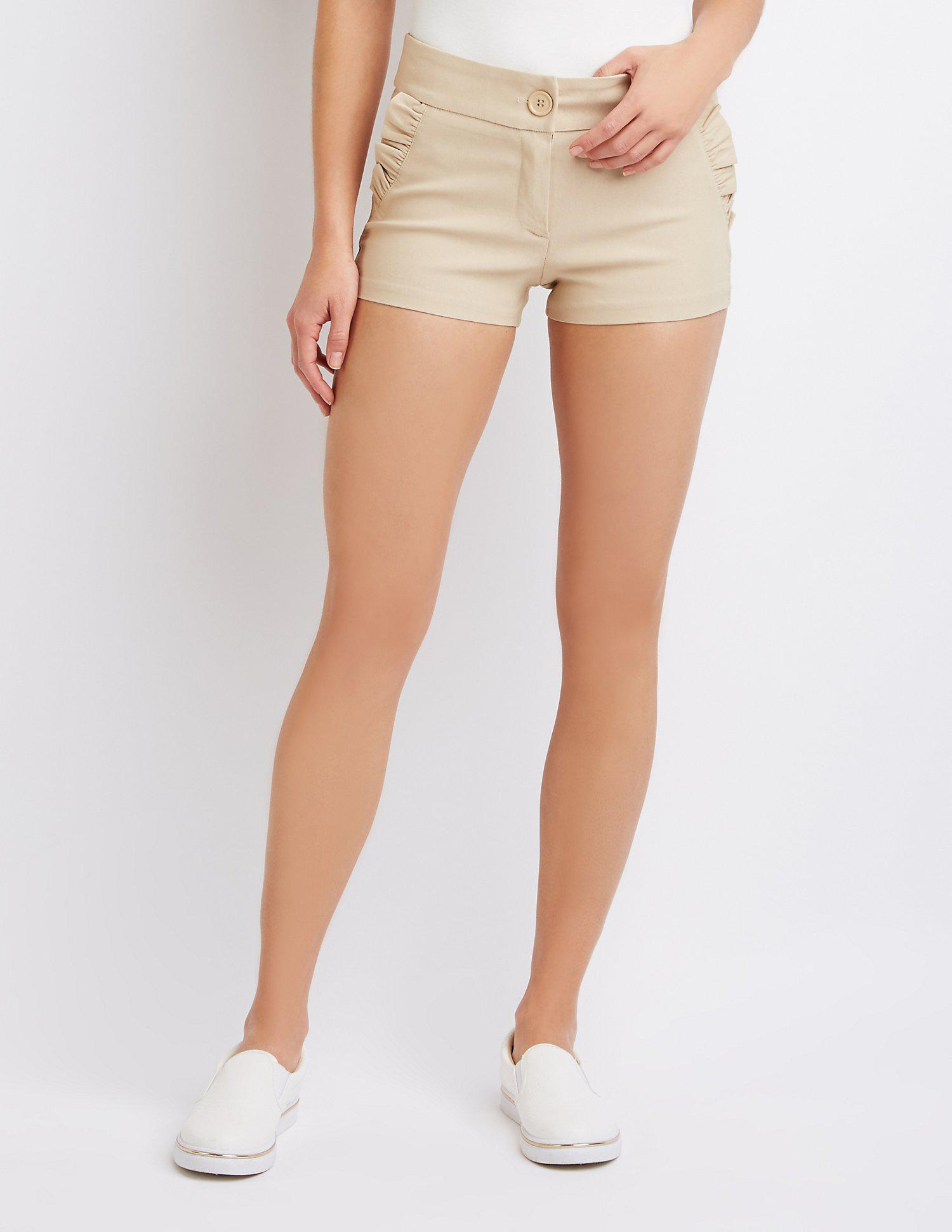 288aca2836cd6 Lyst - Charlotte Russe Ruffle-trimmed Shorts - Save 46.666666666666664%
