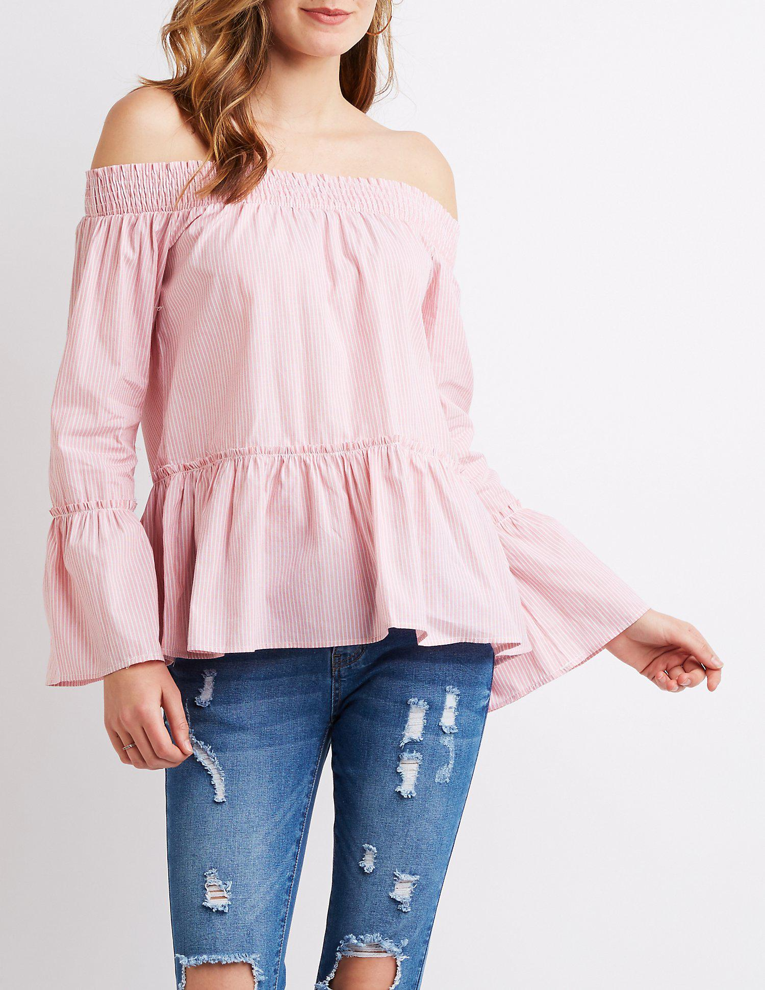 605258ada0daf Lyst - Charlotte Russe Striped Off-the-shoulder Top in Pink