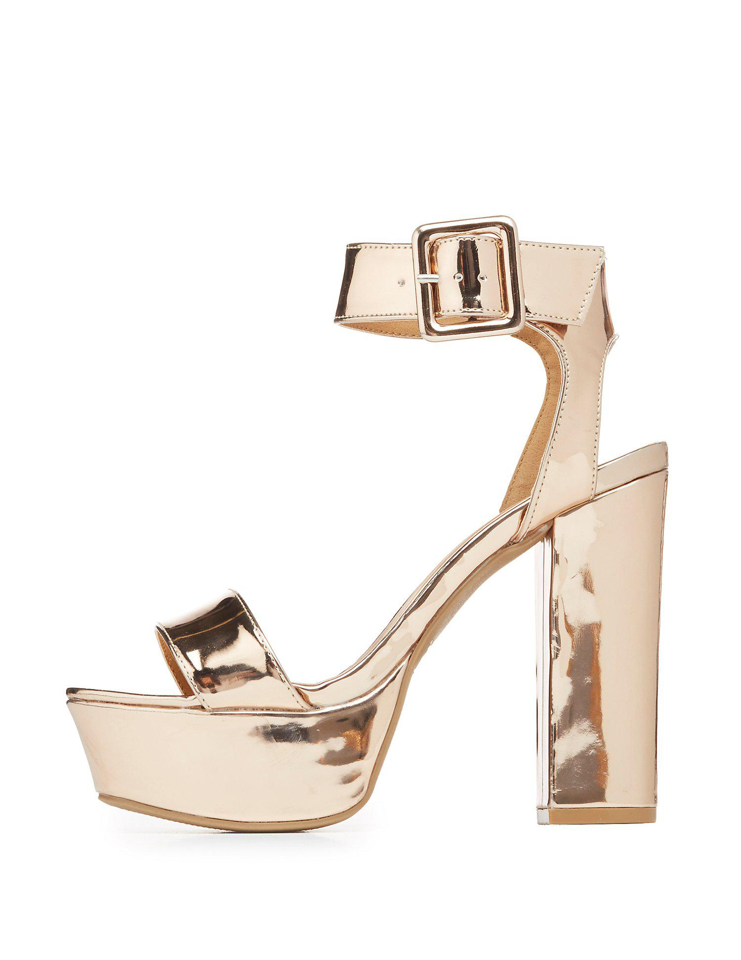 12760793440 Lyst - Charlotte Russe Qupid Metallic Two-piece Platform Sandals in ...