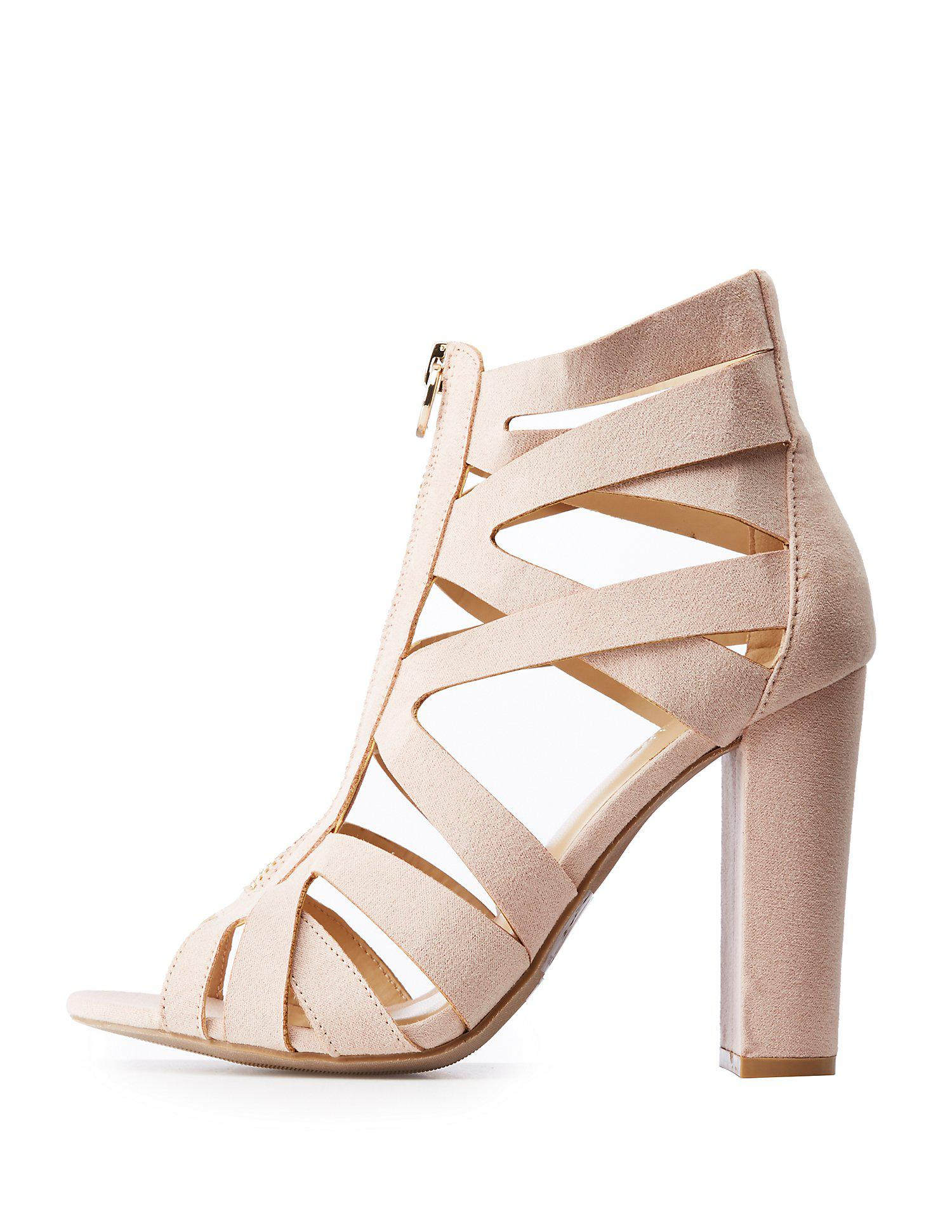 802b3fd237ac Lyst - Charlotte Russe Caged Zip Up Sandals in Natural - Save 47%