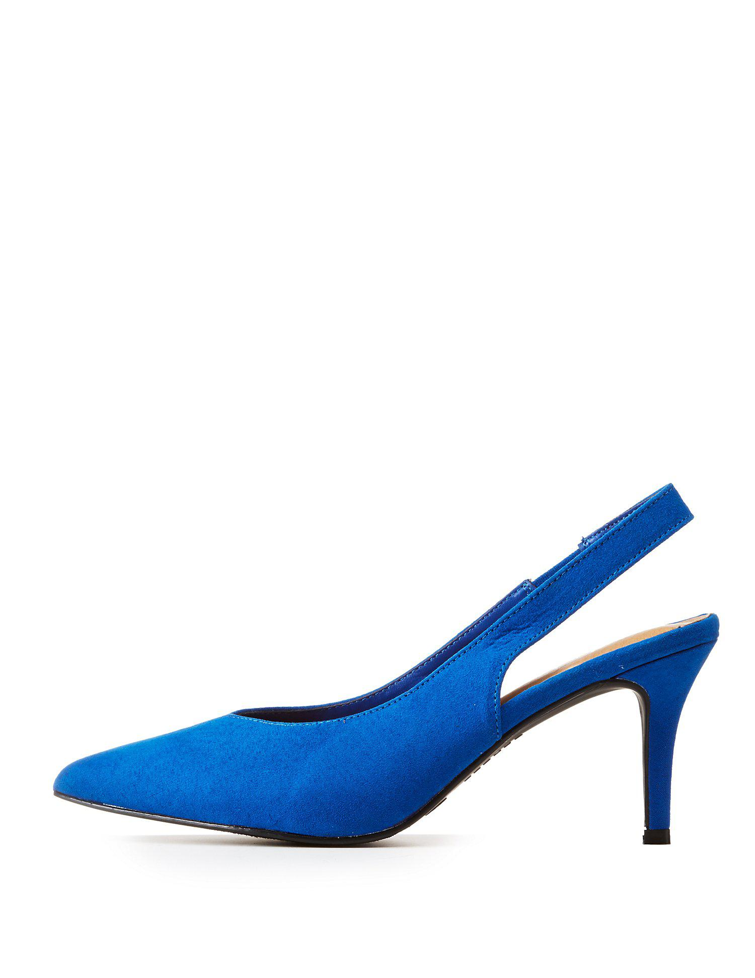 98c4a7a15 Lyst - Charlotte Russe Bamboo Pointed Toe Slingback Pumps in Blue ...