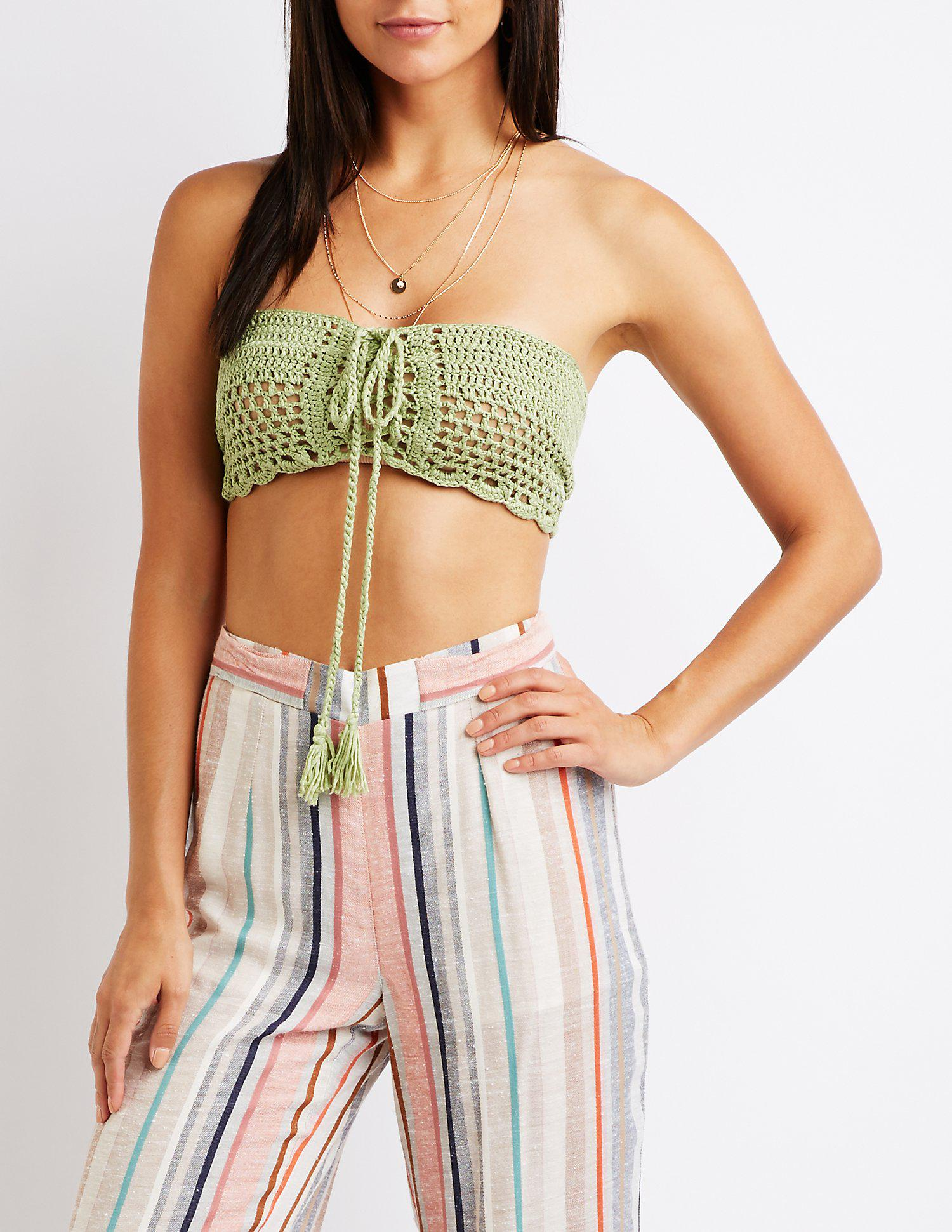 8a075e17eb1 Lyst - Charlotte Russe Lace Up Macrame Tube Top in Green