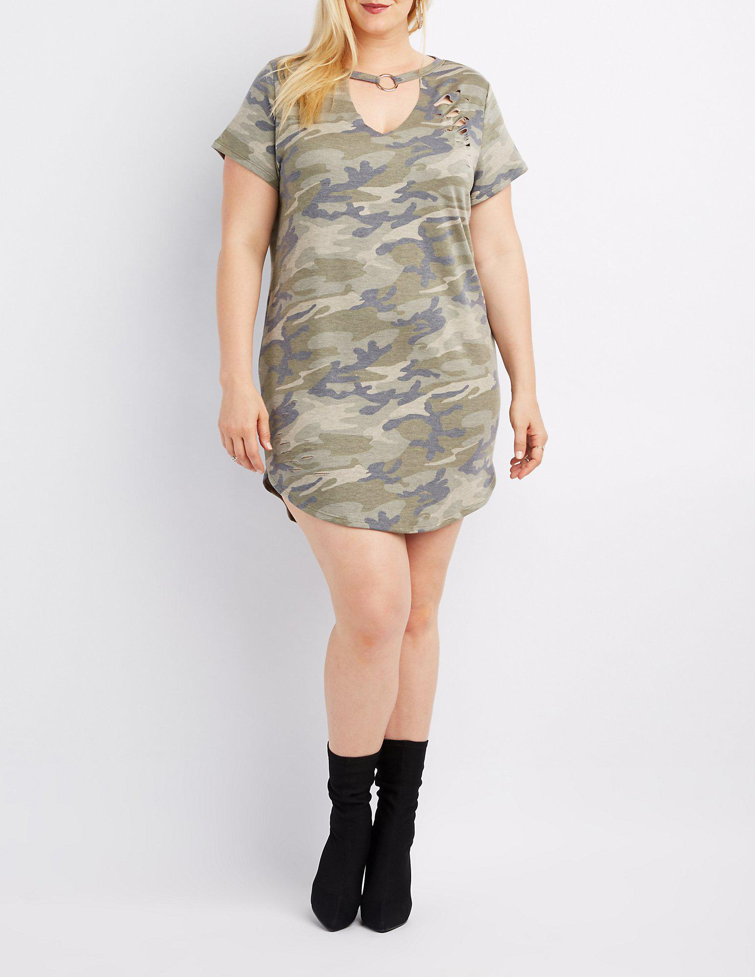a32b25035f5 Lyst - Charlotte Russe Plus Size Camo O-ring T-shirt Dress