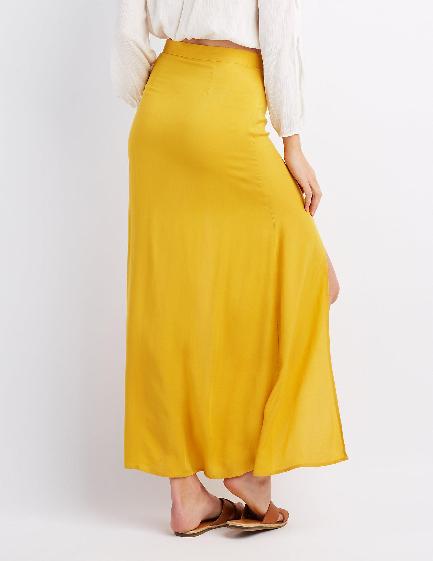 3c2dc5a478 Lyst - Charlotte Russe Double Slit Button-up Maxi Skirt in Yellow