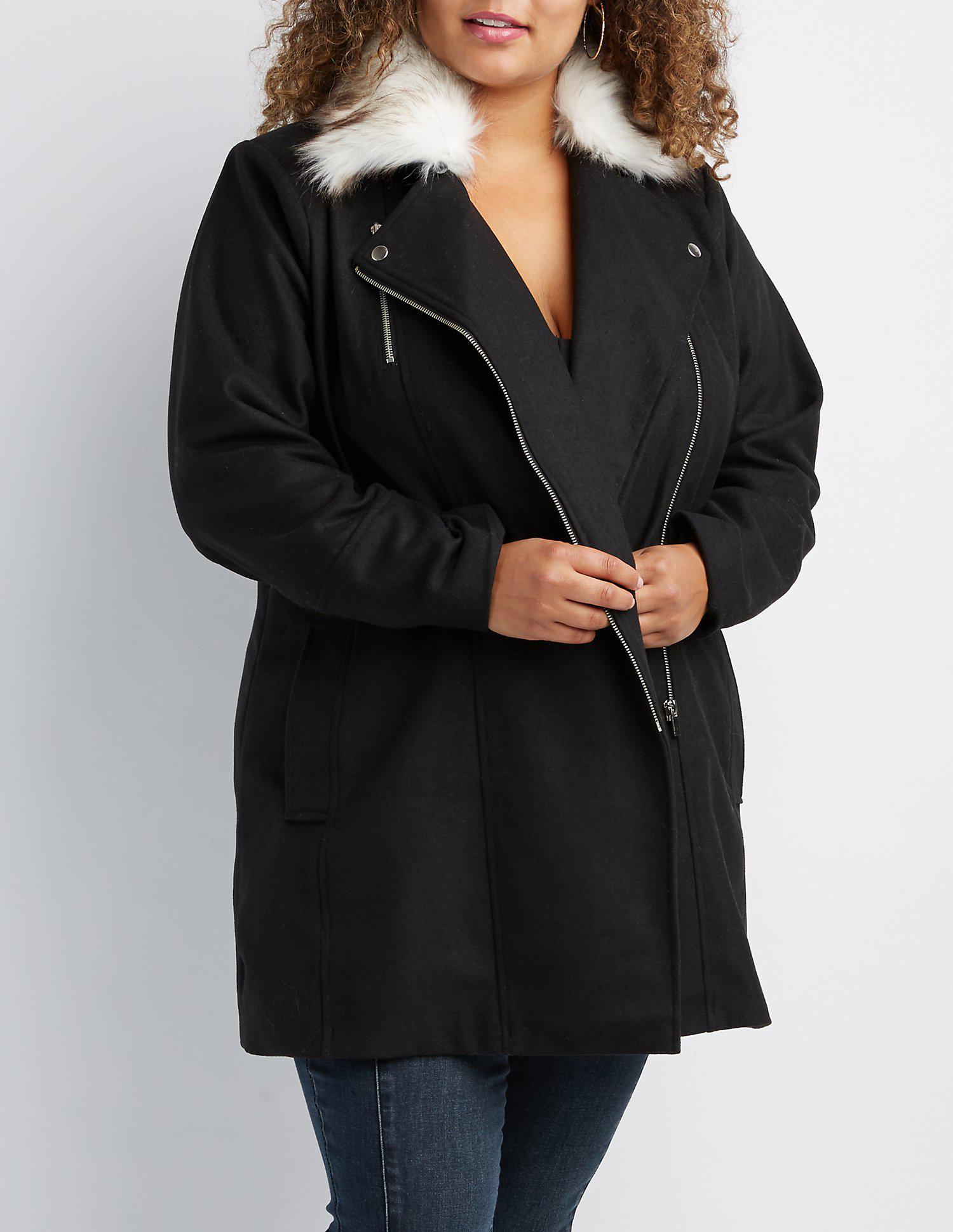 1bfb1da3491 Lyst - Charlotte Russe Plus Size Long Moto Faux Fur-trim Coat in Black