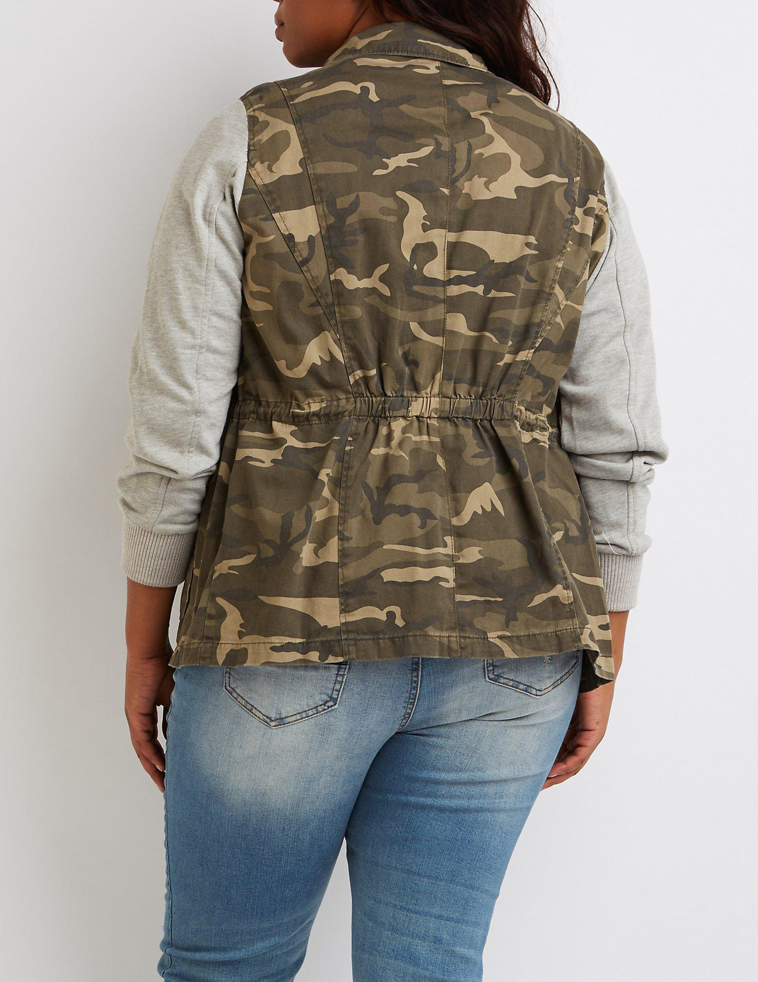 955dee30325 Lyst - Charlotte Russe Plus Size Camo Knit Sleeves Anorak Jacket