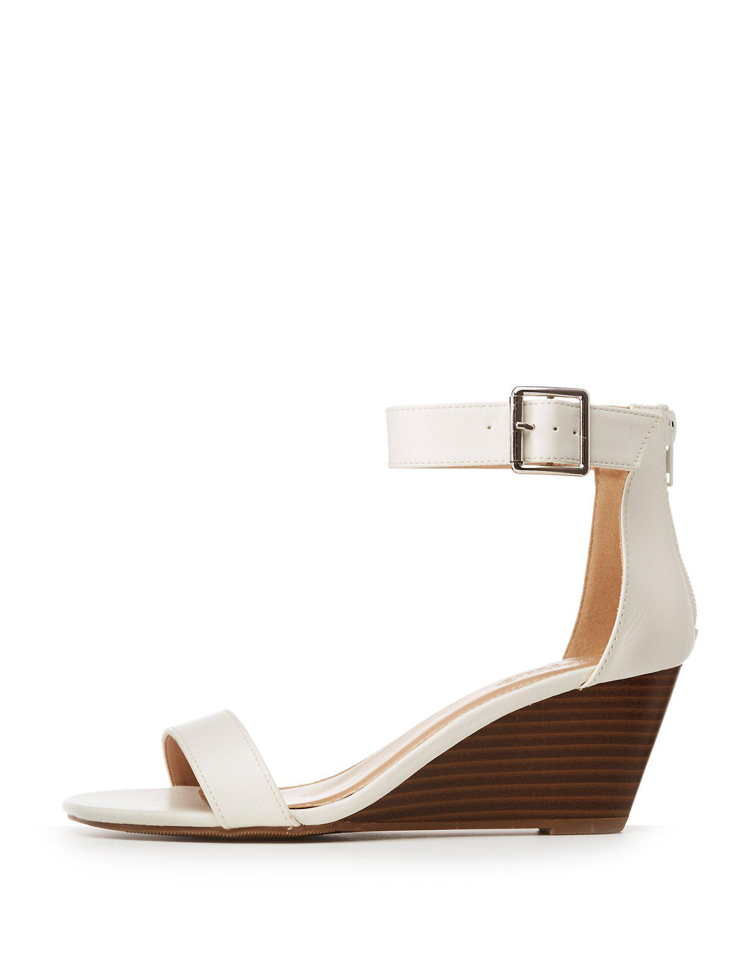 85b6f6a1a7d Lyst - Charlotte Russe Two-piece Wedge Sandals in White - Save 34%