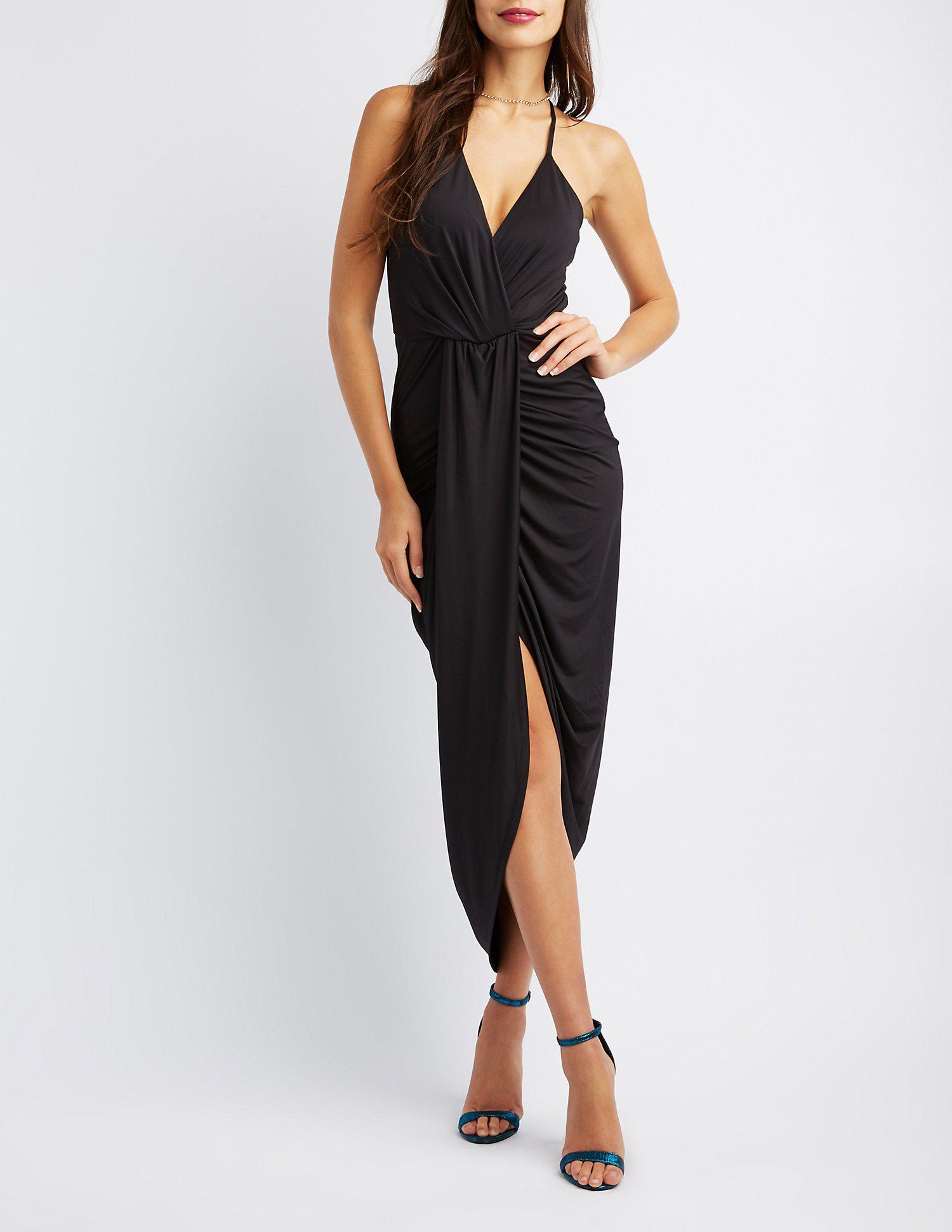 8cc44e4b0a3 Lyst - Charlotte Russe Surplice Tulip Maxi Dress in Black