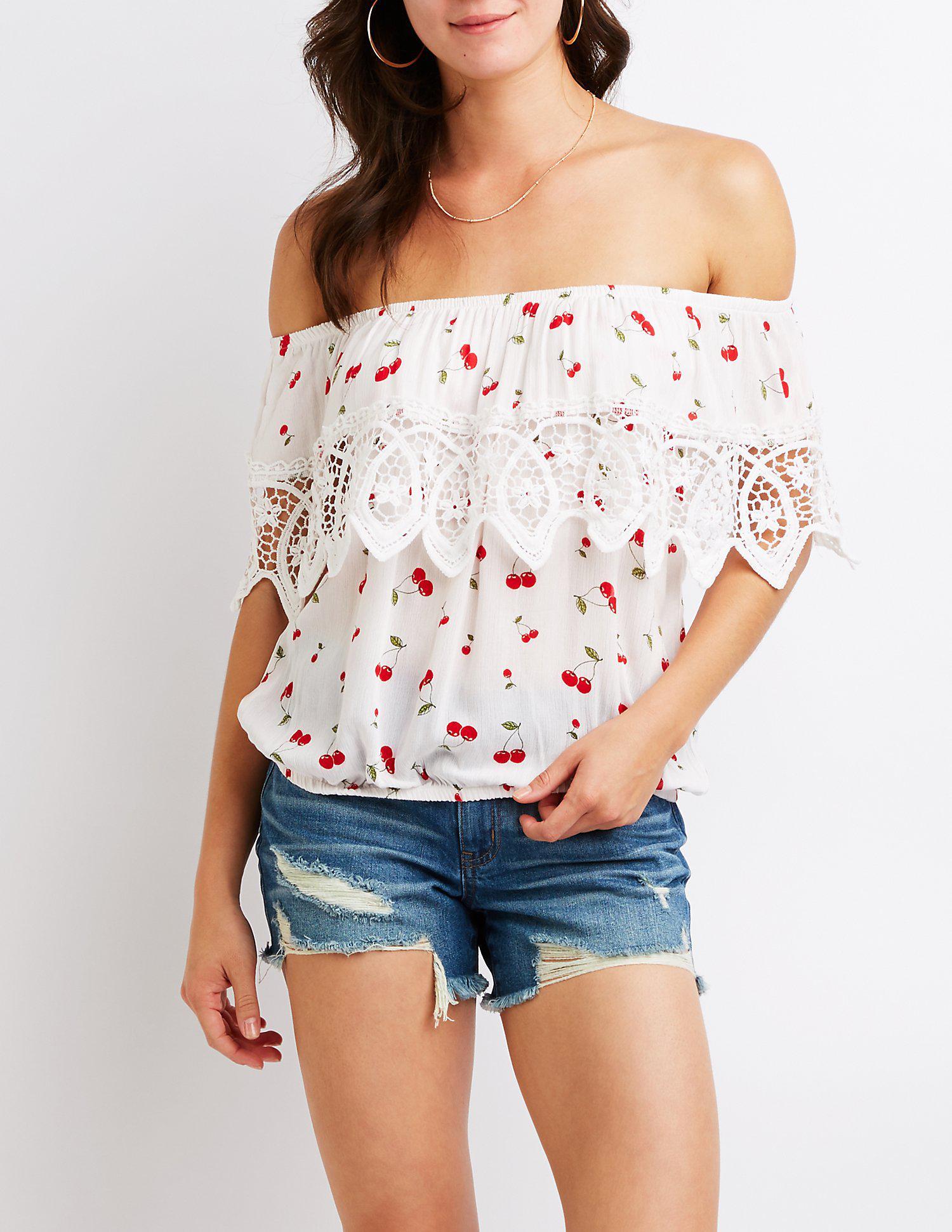 0ee6c859105 Lyst - Charlotte Russe Cherry Print Crochet-trim Off-the-shoulder ...