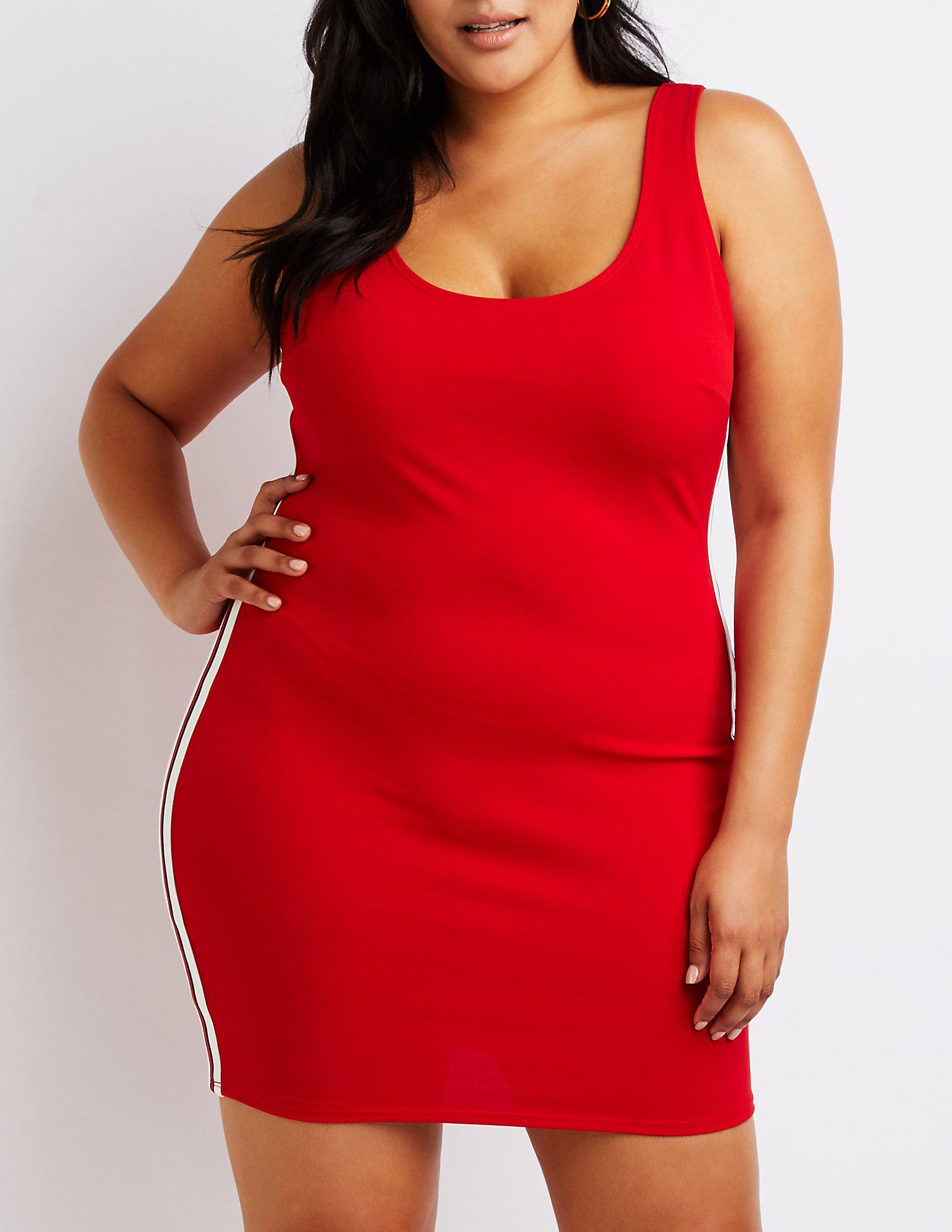 Lyst - Charlotte Russe Plus Size Striped Bodycon Dress in Red