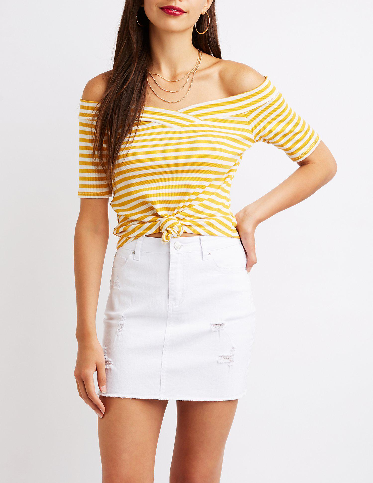 a80f46db54891c Lyst - Charlotte Russe Ribbed Off The Shoulder Top in Yellow - Save ...