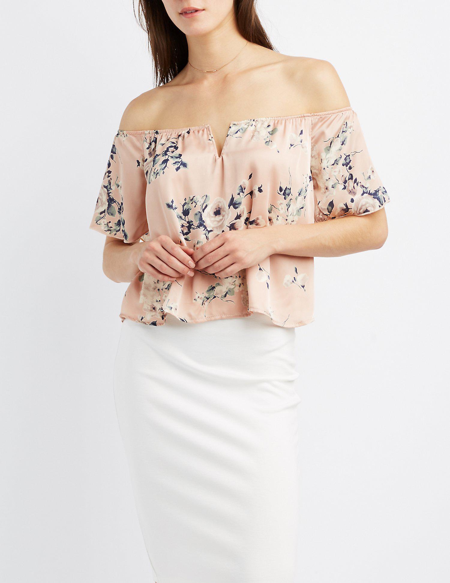 1865ebe8256751 Lyst - Charlotte Russe Floral Satin Off-the-shoulder Top