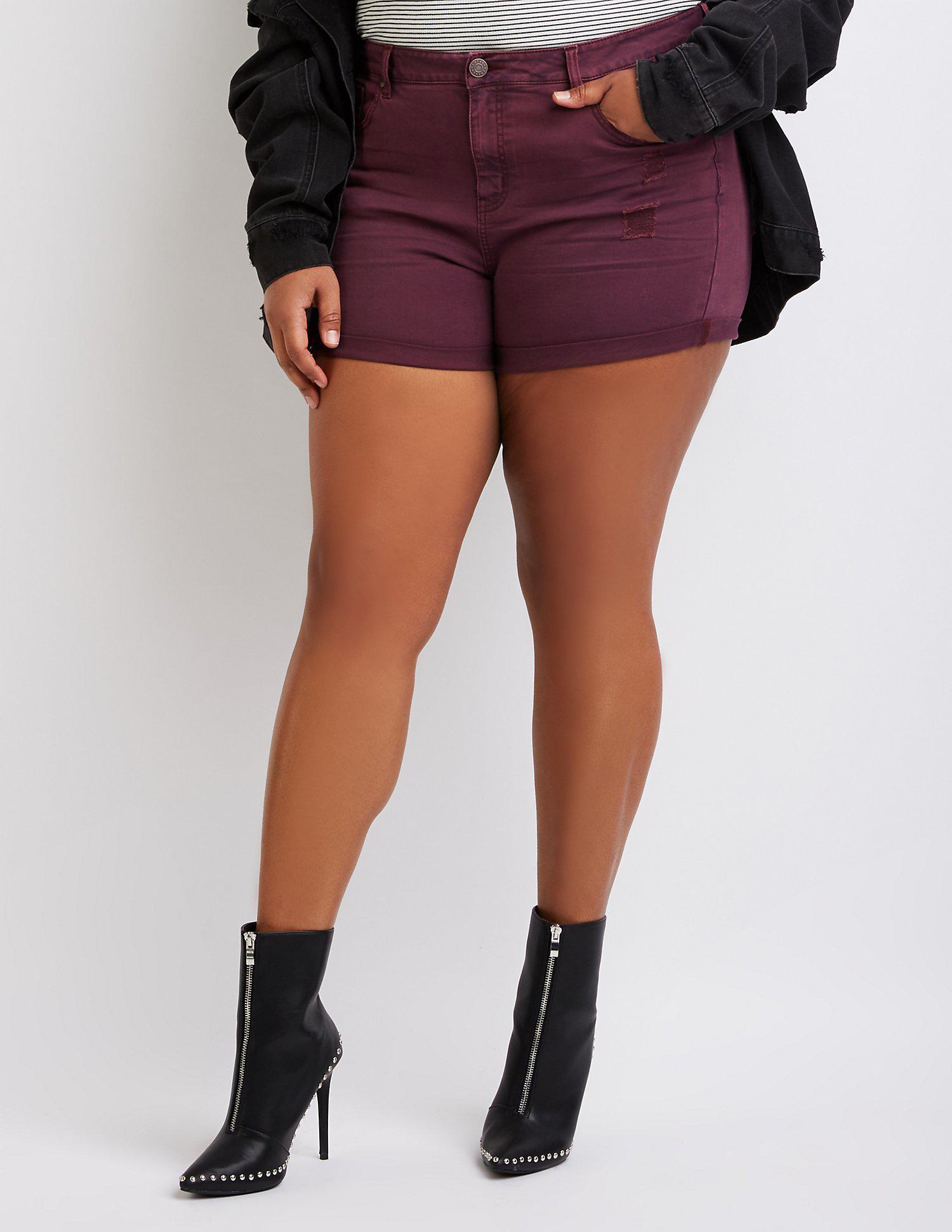 b8a4760e3e Charlotte Russe. Women's Purple Plus Size Refuge Destroyed Girlfriend Shorts