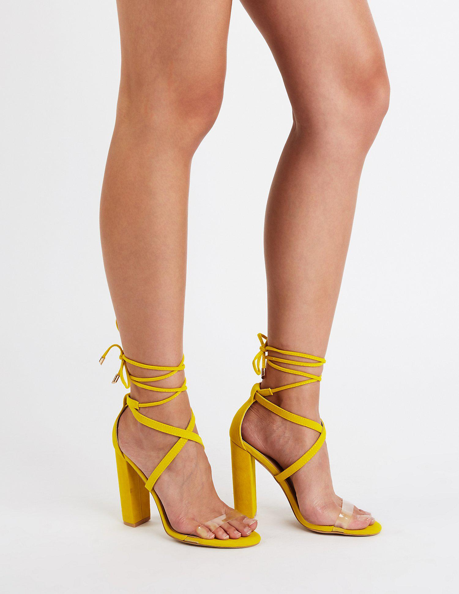 045b23cf52c Lyst - Charlotte Russe Strappy Open Toe Pumps