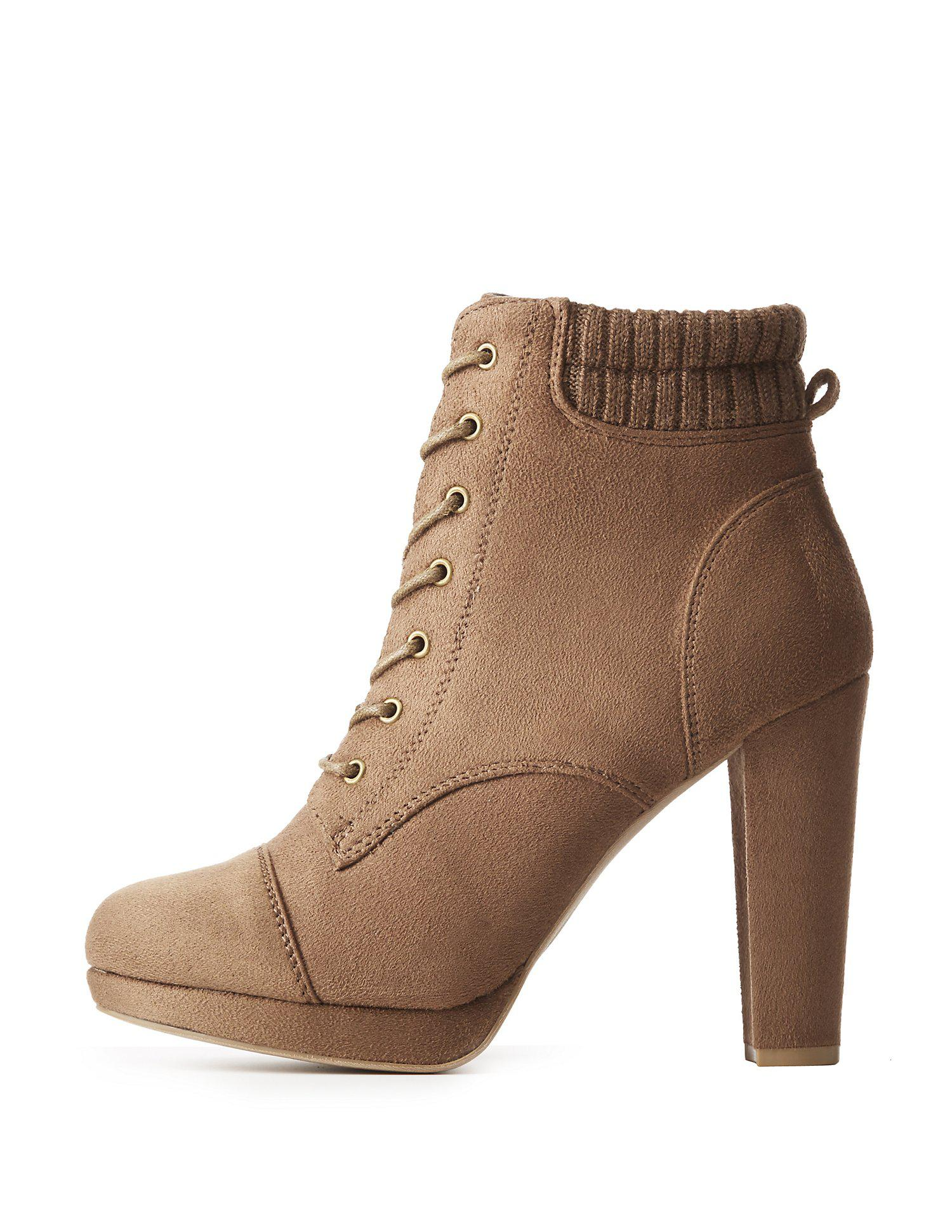 47146b17affb Lyst - Charlotte Russe Lace-up Block Heel Booties in Brown