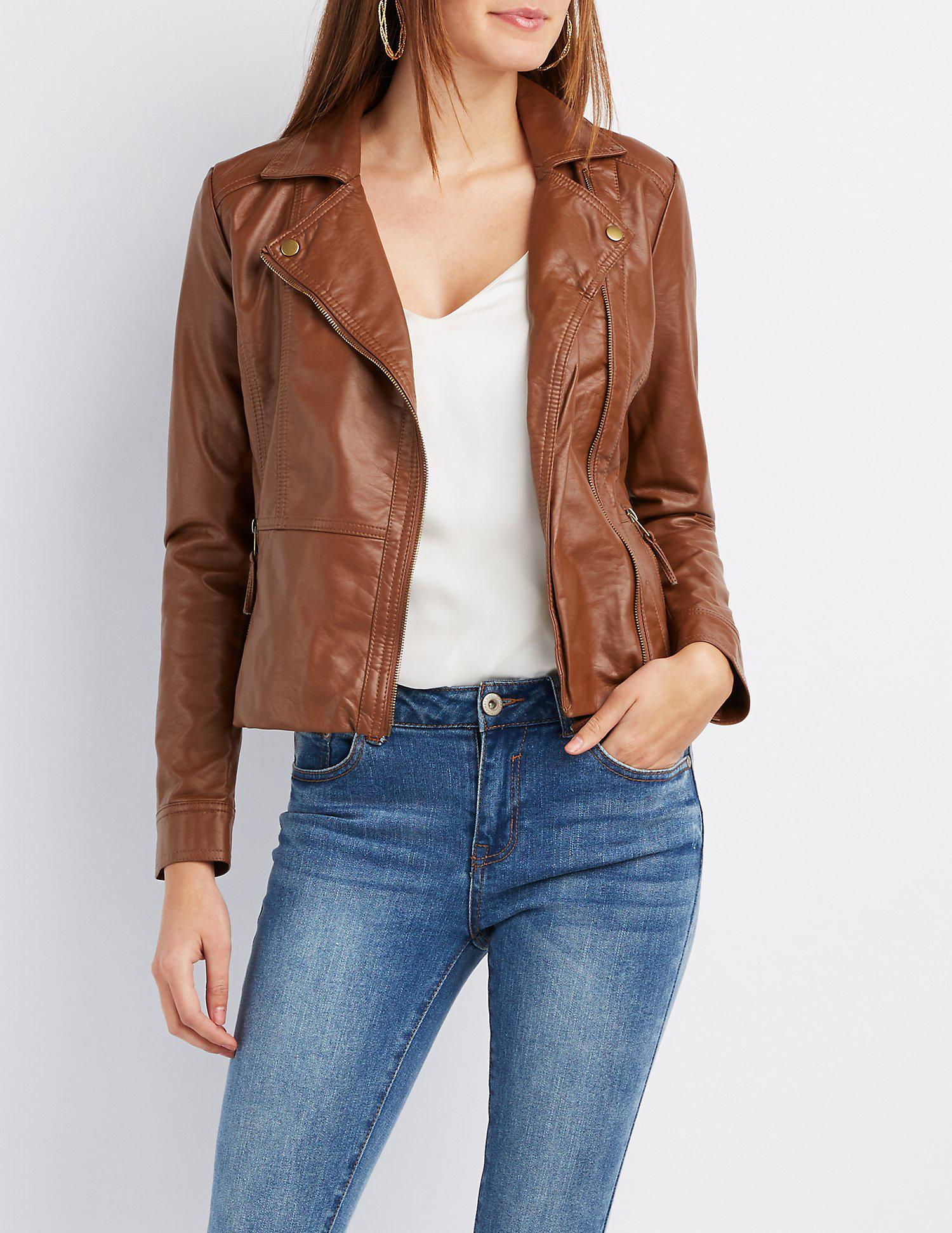 c0cc15f6f74 Lyst - Charlotte Russe Faux Leather Moto Jacket in Brown