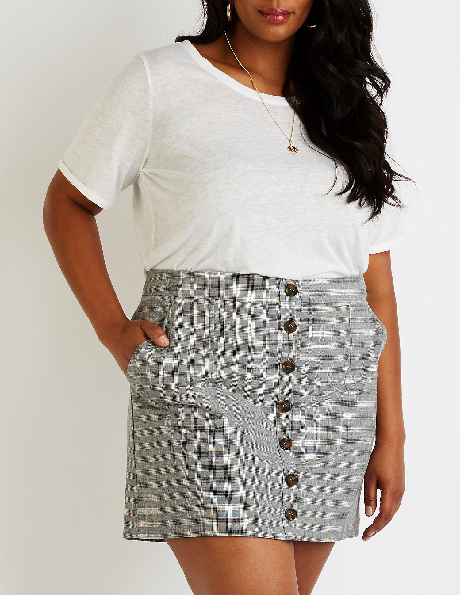 b838a66ddd5 Lyst - Charlotte Russe Plus Size Plaid Button Up Skirt in Gray