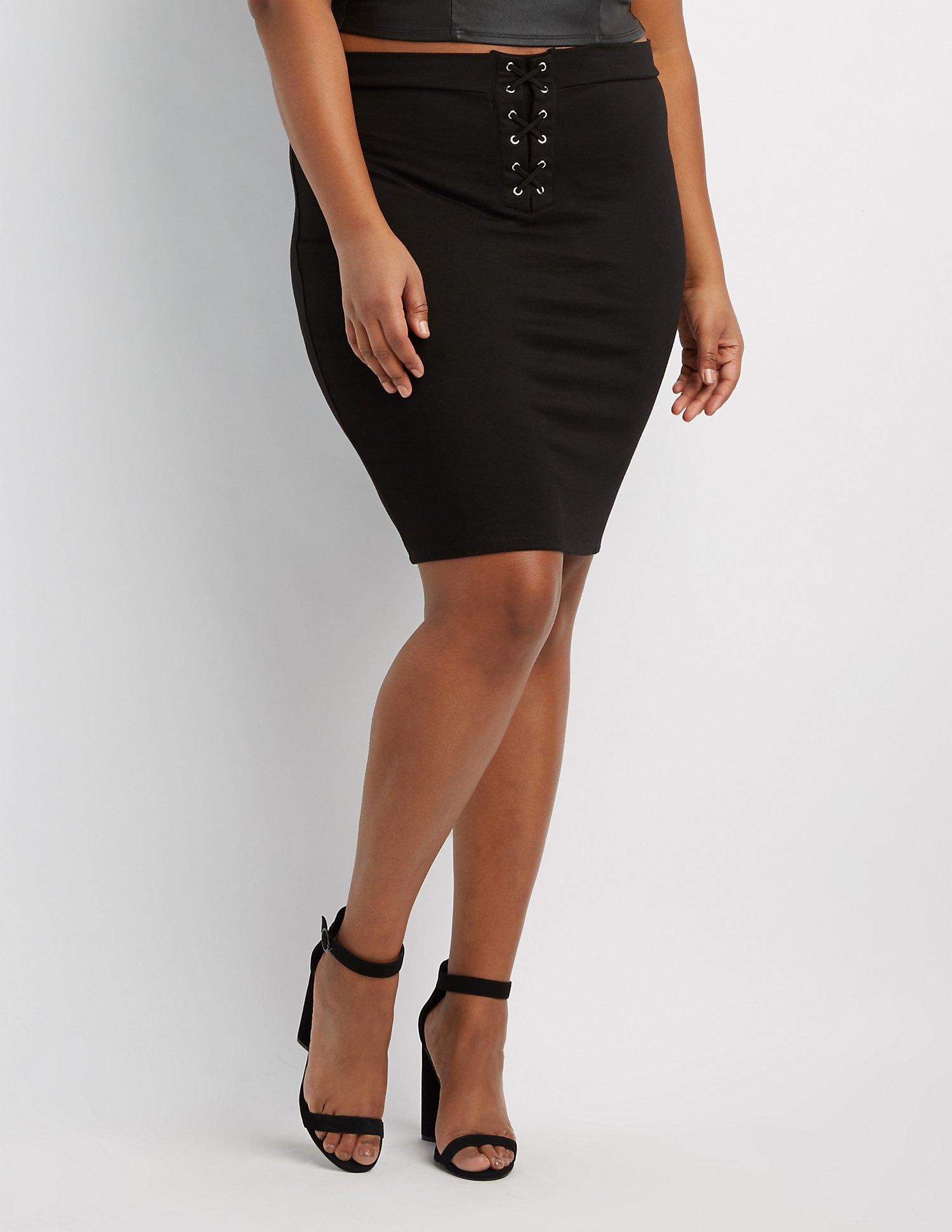 c2b73ac59a6 Lyst - Charlotte Russe Plus Size Lace-up Detail Pencil Skirt in Black