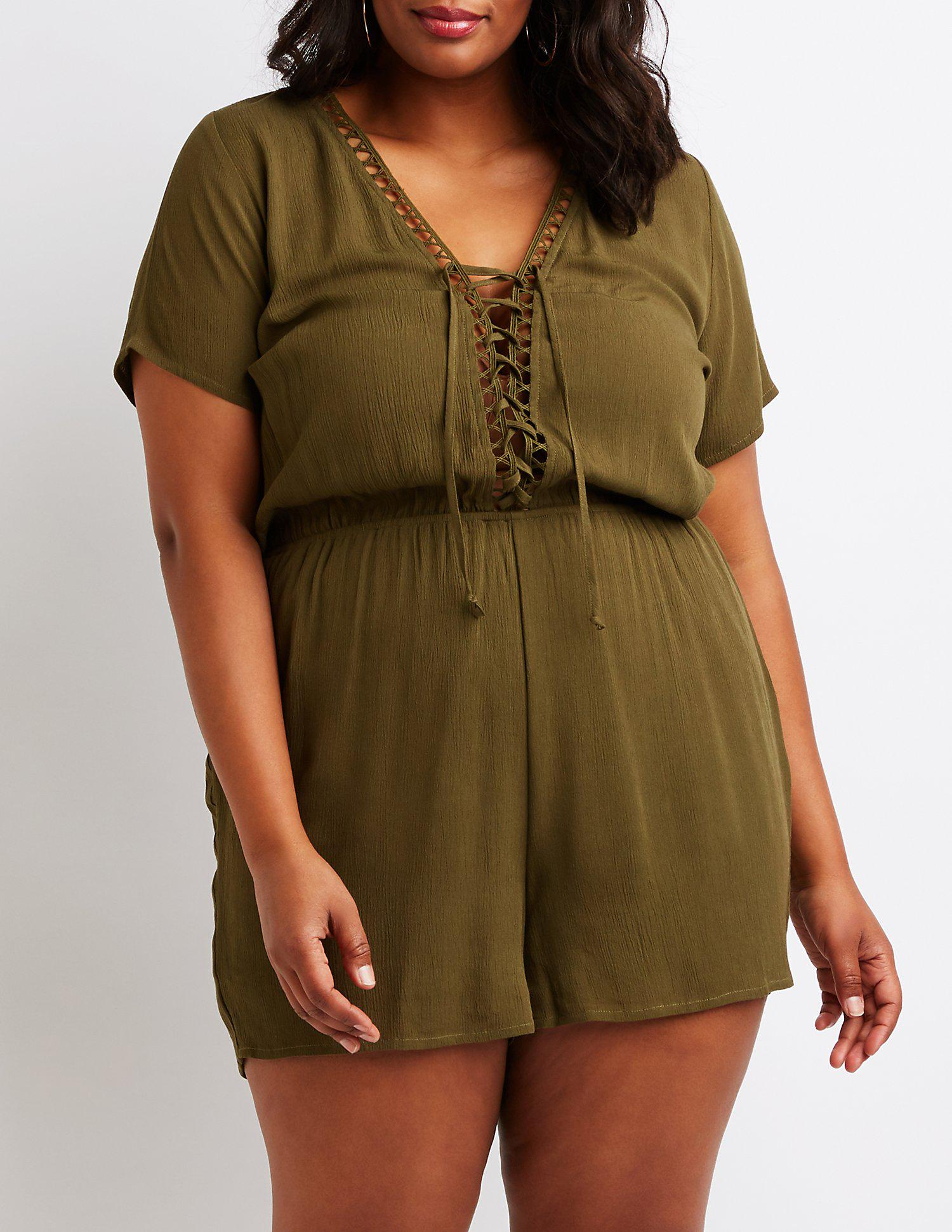 dd6871a5a94f Lyst - Charlotte Russe Plus Size Crochet Lace Up Romper in Green