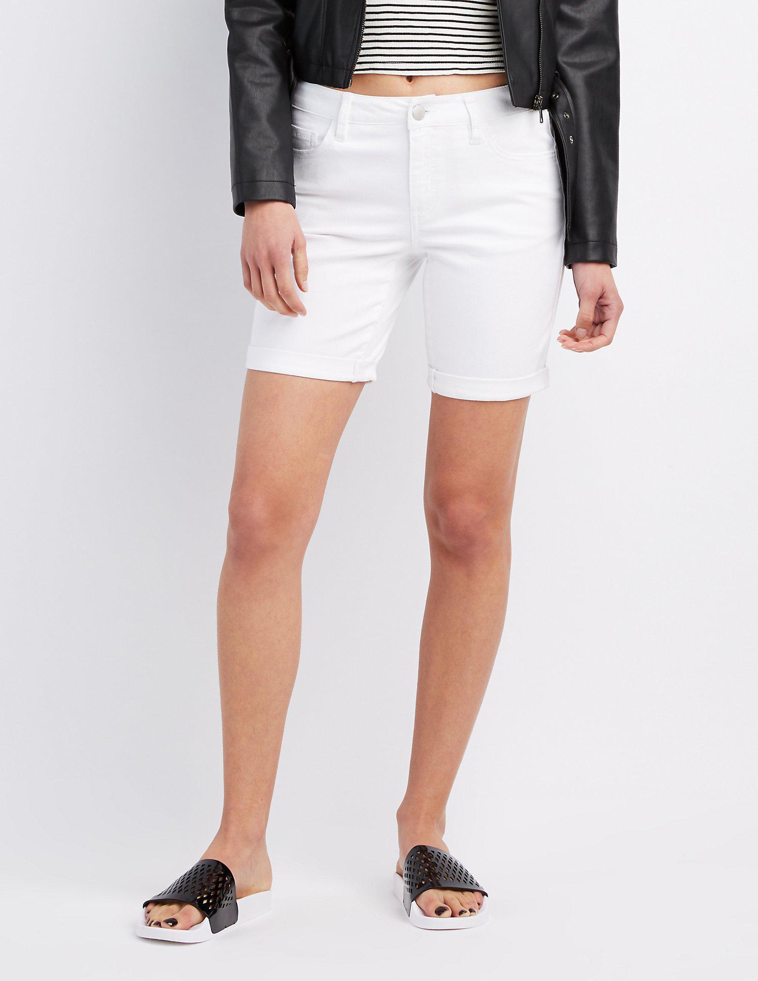 59cfd797dc Lyst - Charlotte Russe Refuge Denim Bermuda Shorts in White