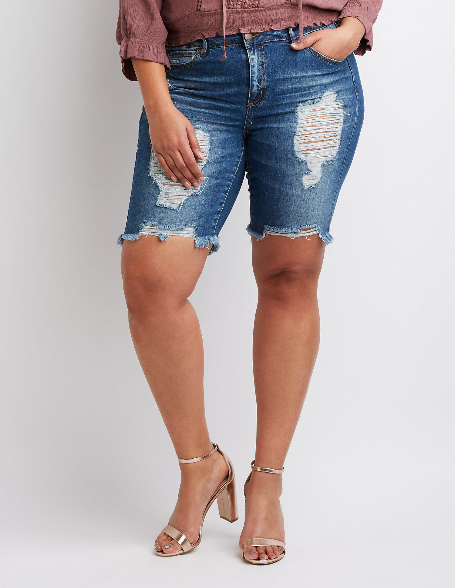 0aa5bd9e37 Lyst - Charlotte Russe Plus Size Refuge Destroyed Bermuda Shorts in Blue