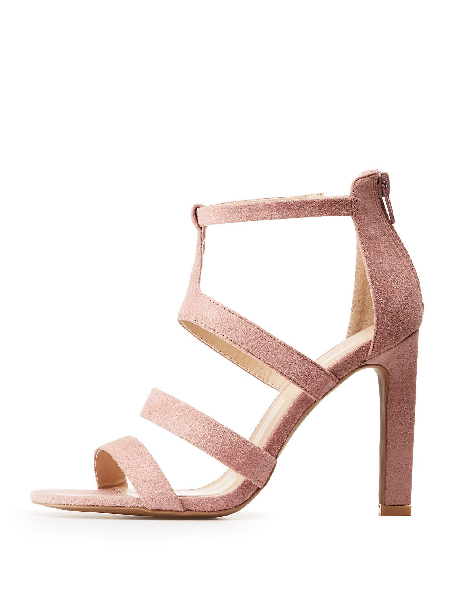 279724828 Lyst - Charlotte Russe Caged Open Toe Sandals in Purple