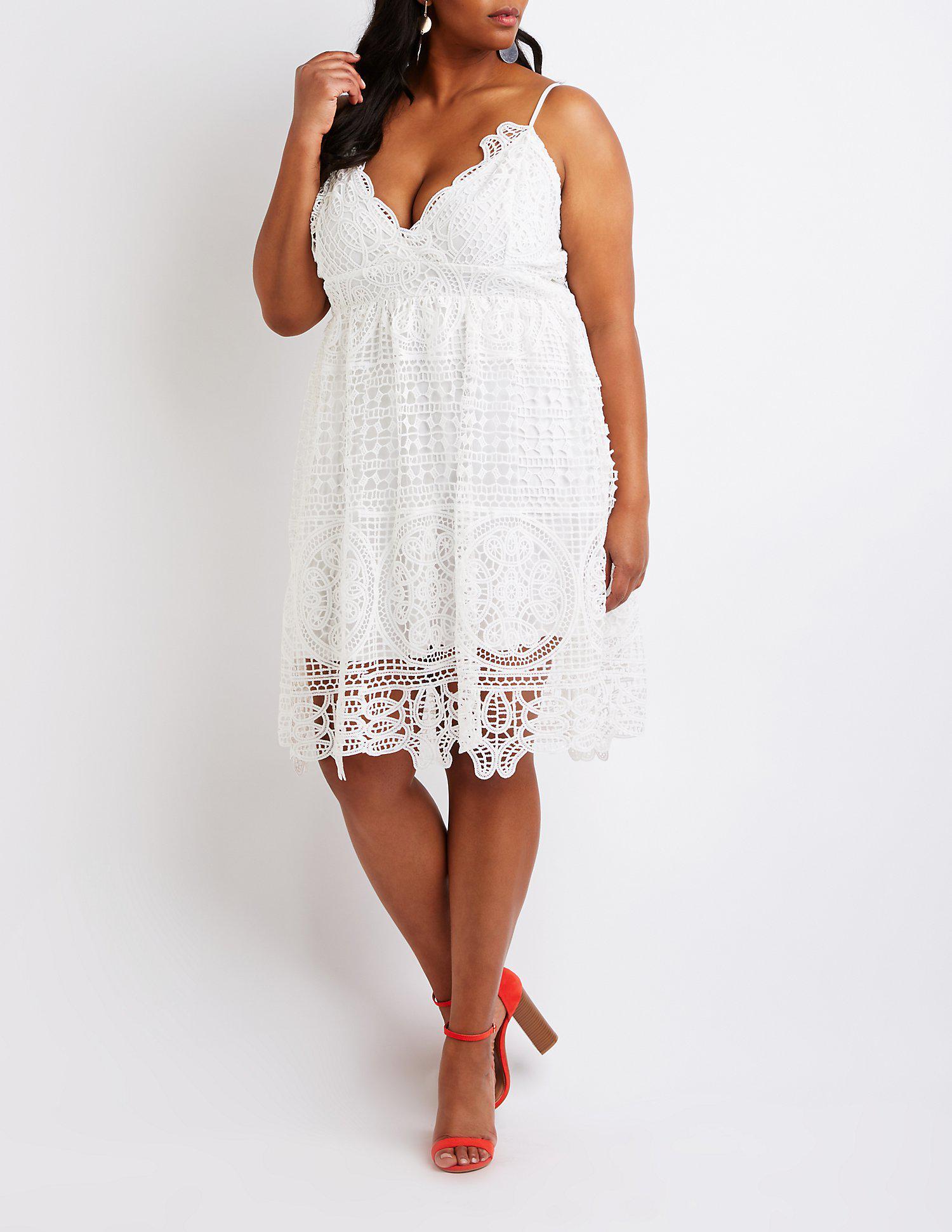 Lyst - Charlotte Russe Plus Size Crochet Skater Dress in White