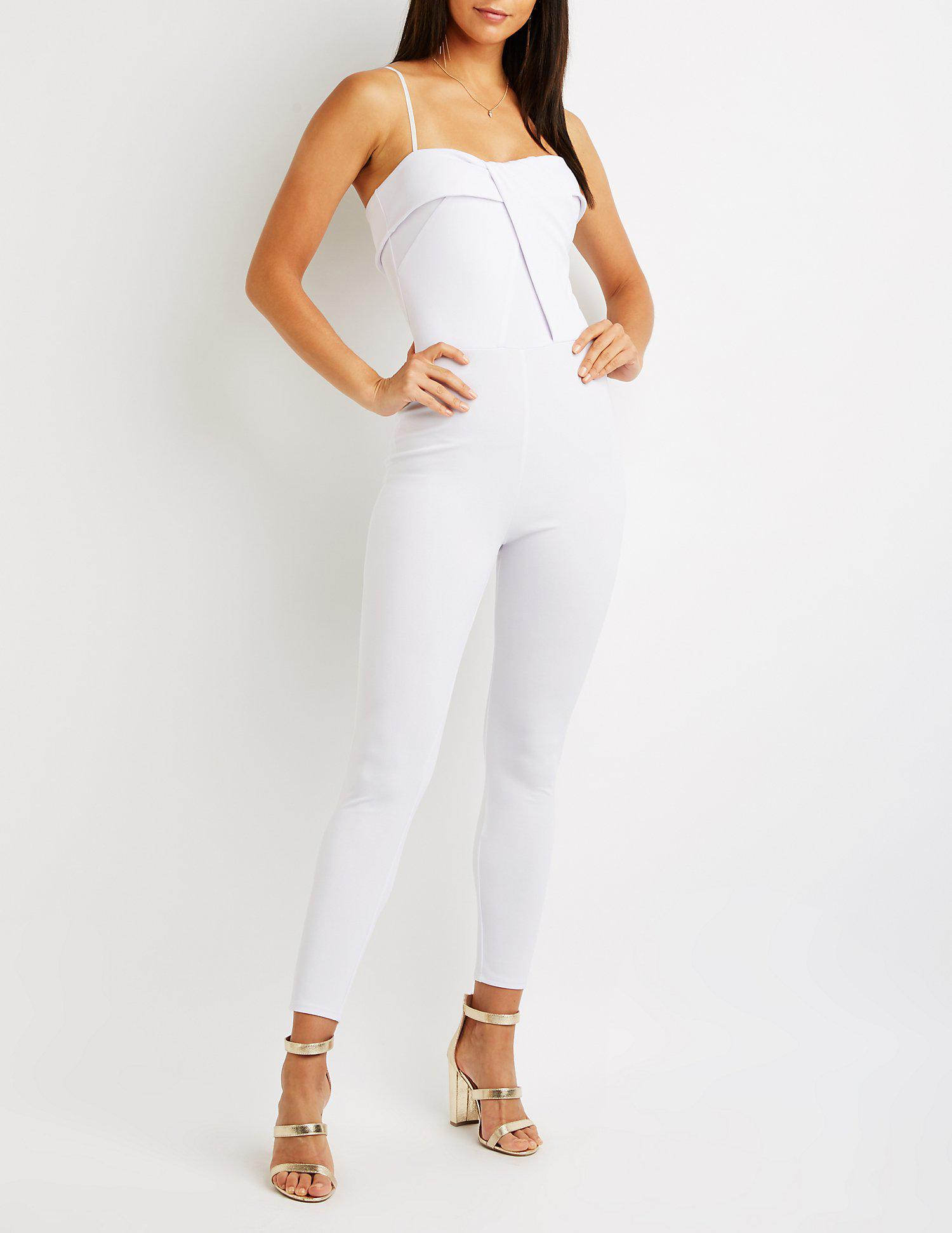 2cf9d83dc7a Lyst - Charlotte Russe Skinny Leg Jumpsuit in White