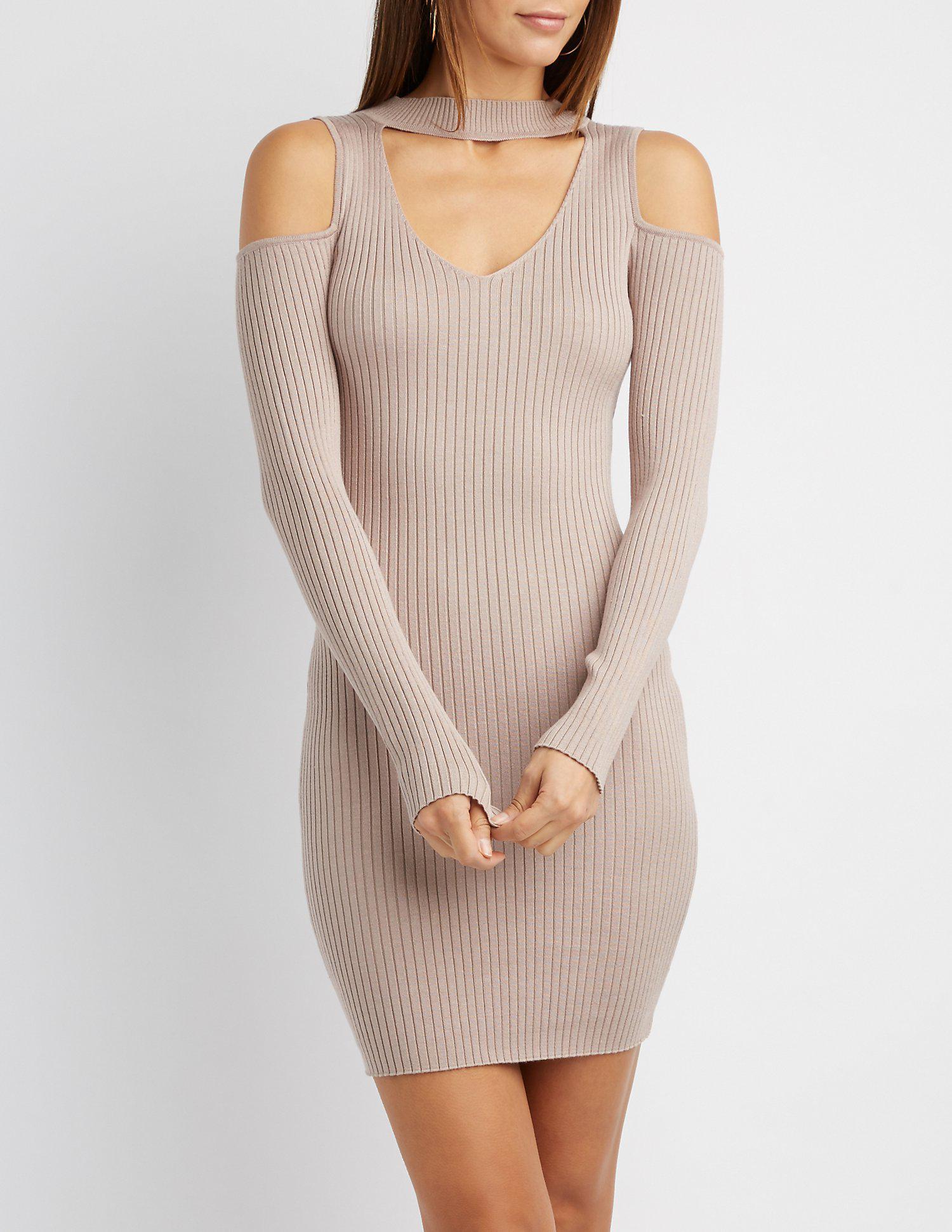 82e7b196d28 Lyst - Charlotte Russe Cold Shoulder Mock Neck Bodycon Sweater Dress
