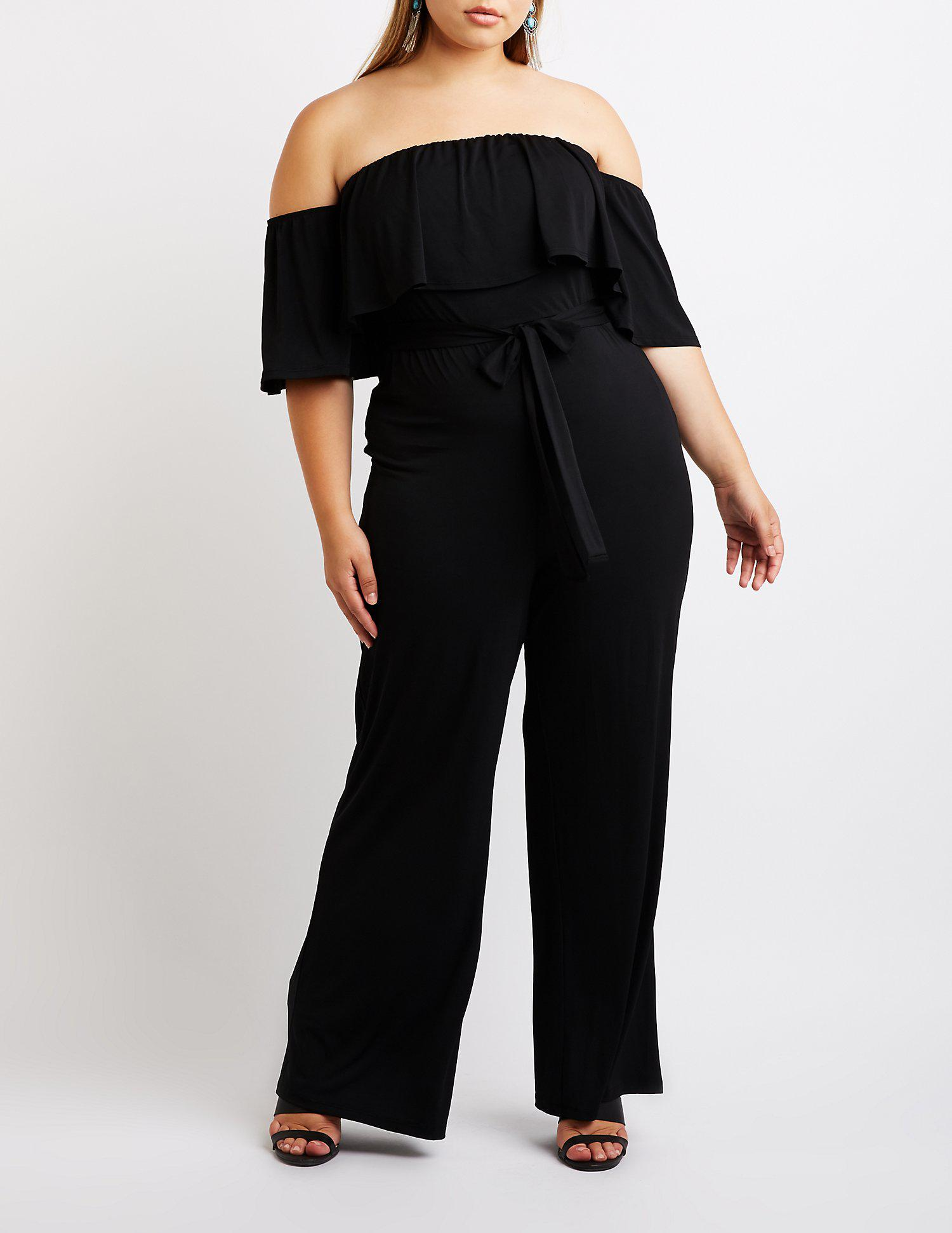 7714324f22f Lyst charlotte russe plus size ruffle off the shoulder jumpsuit jpg  1500x1941 Plus size black jumpsuit