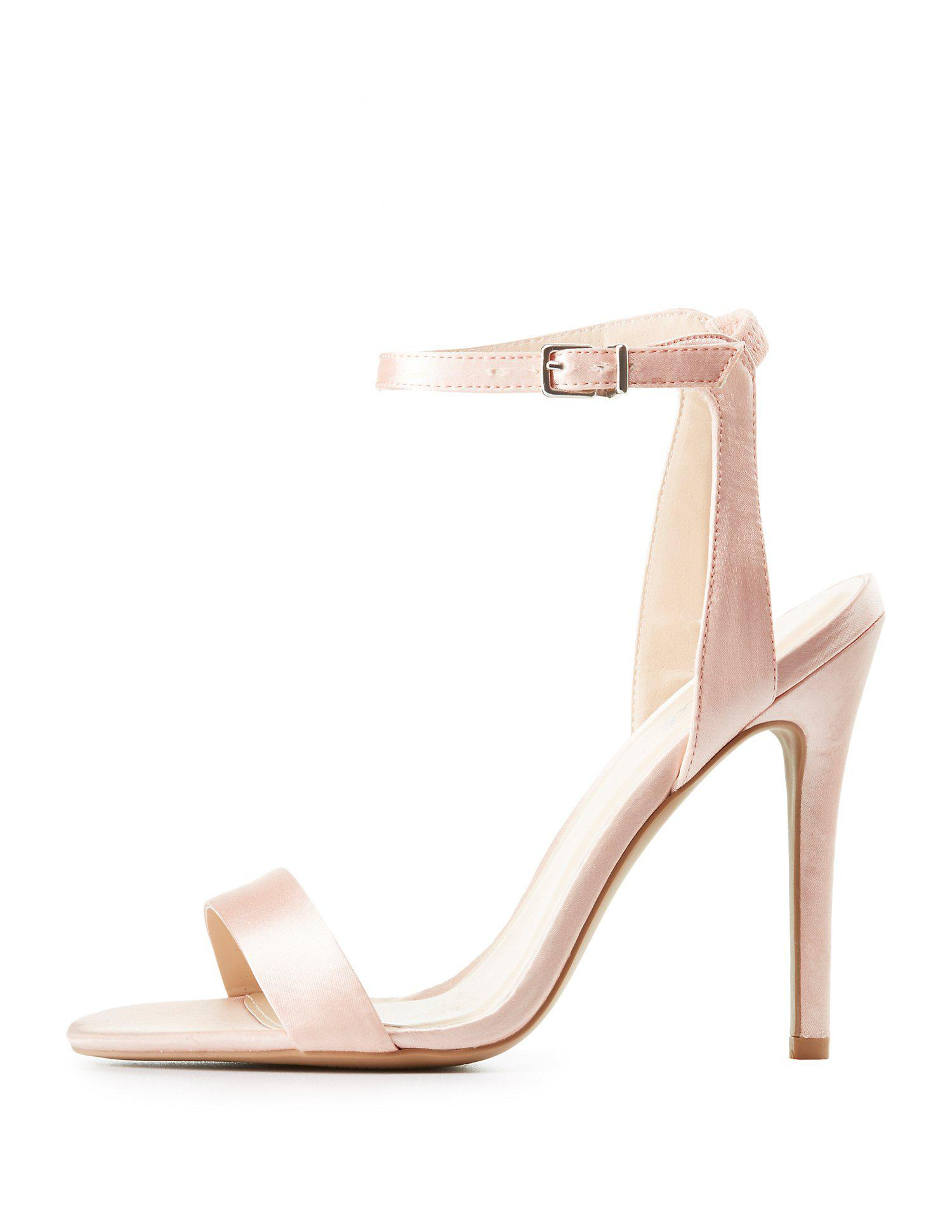 eb0344b01d05 Lyst - Charlotte Russe Qupid Satin Ankle Strap Sandals in Pink
