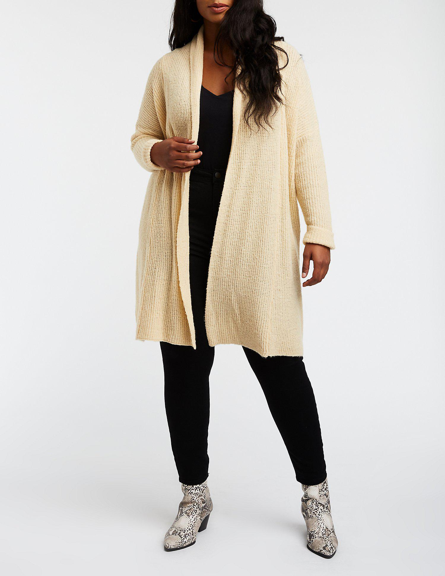 6b0424fe19 Lyst - Charlotte Russe Plus Size Open Front Longline Cardigan in Natural