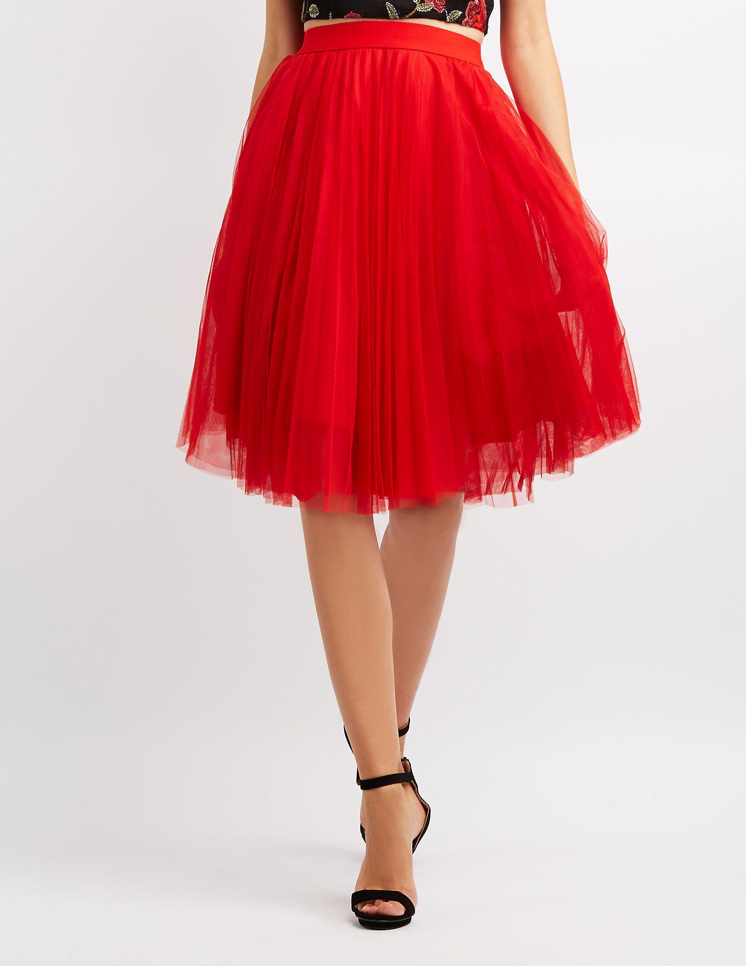 05800ffa3 Lyst - Charlotte russe Tulle Full Midi Skirt in Red