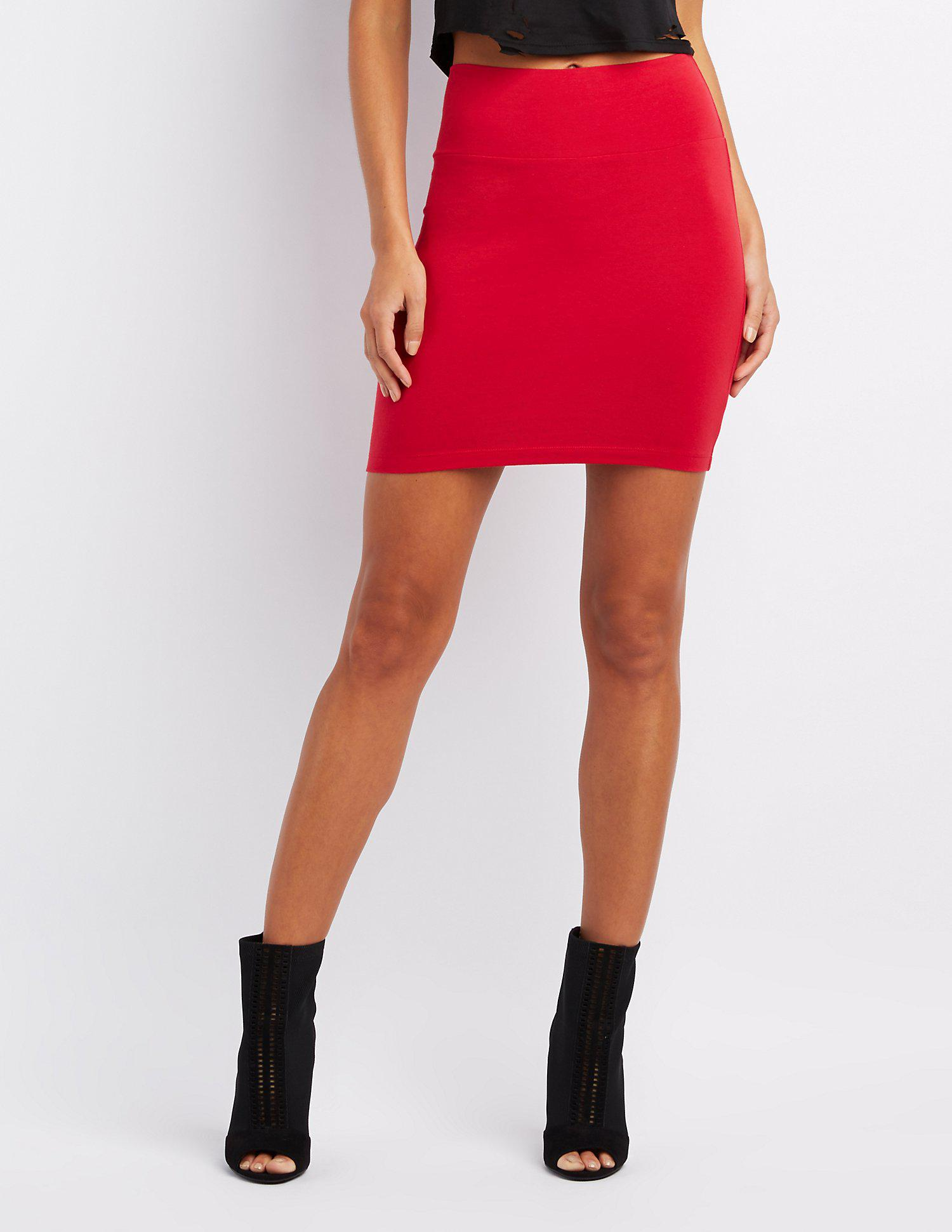 e00865b6b1 Lyst - Charlotte Russe Bodycon Mini Skirt in Red - Save 25%