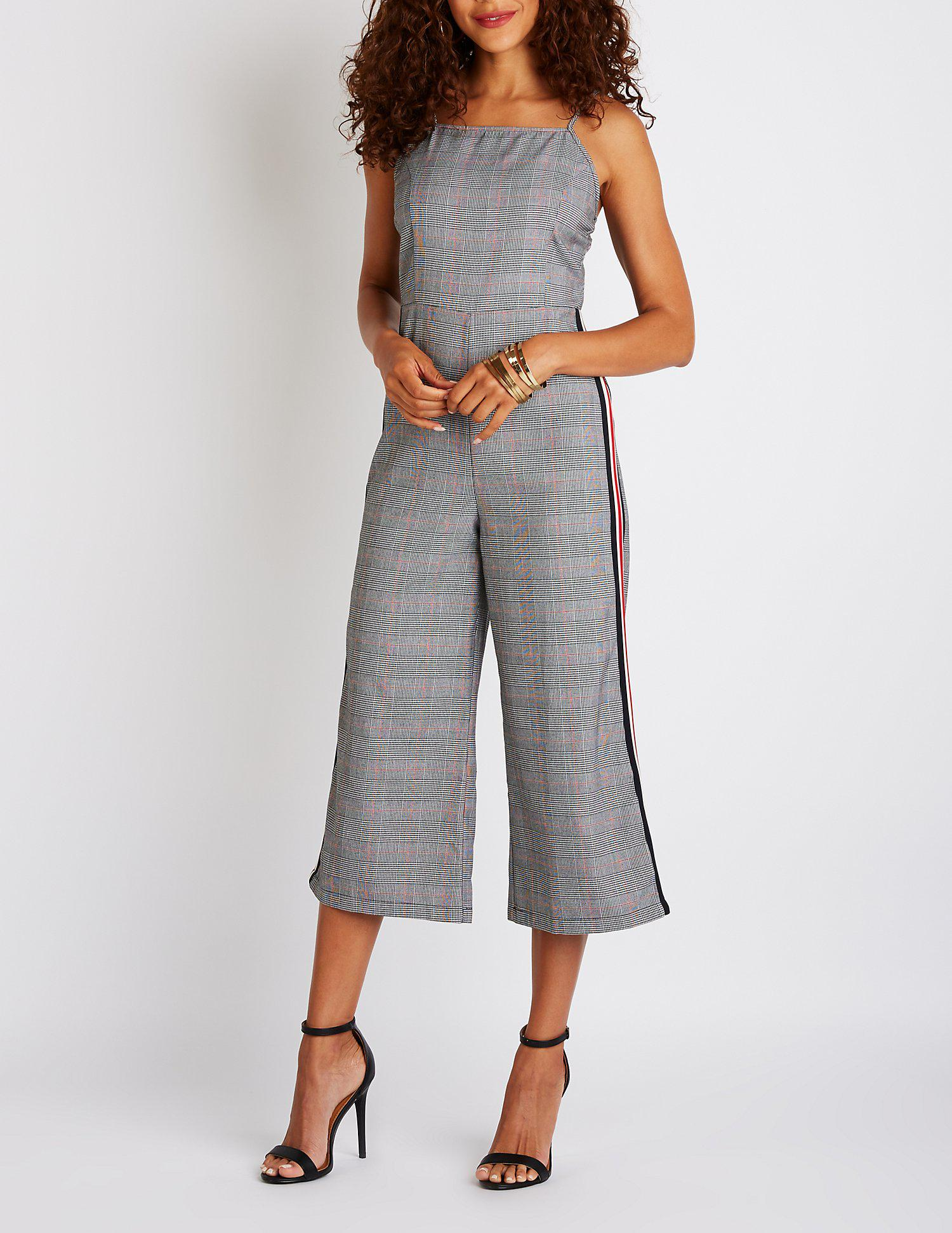 d880a097493 Lyst - Charlotte Russe Side Striped Glen Plaid Jumpsuit in Black