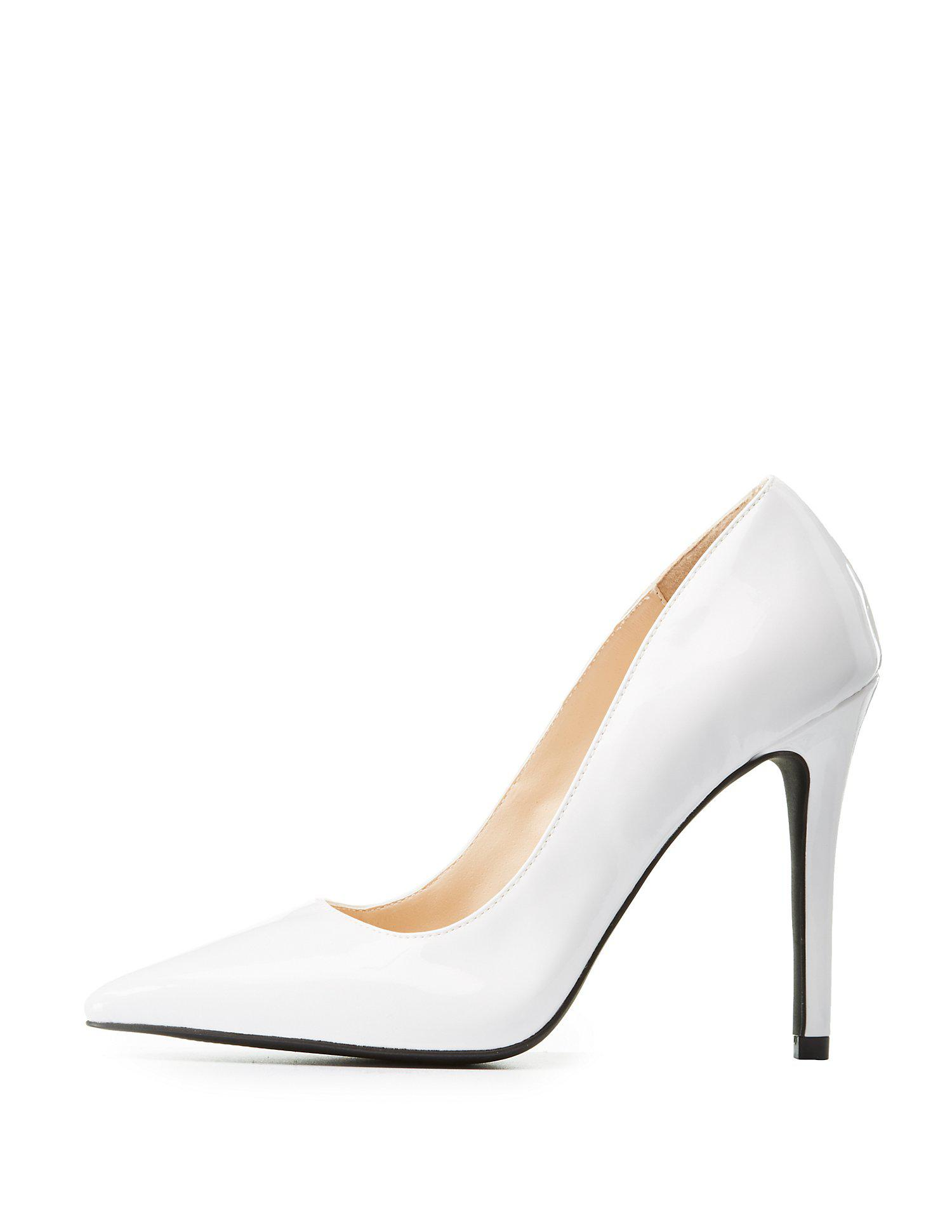 37717830f6 Lyst - Charlotte Russe Qupid Pointed Toe Pumps in White