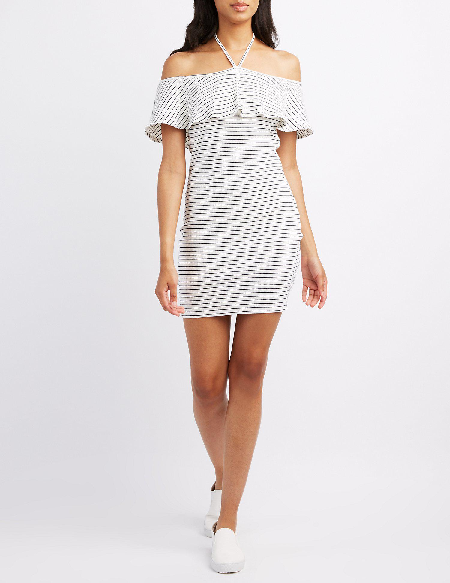 c8844228cb5 Lyst - Charlotte Russe Striped Halter Off-the-shoulder Bodycon Dress