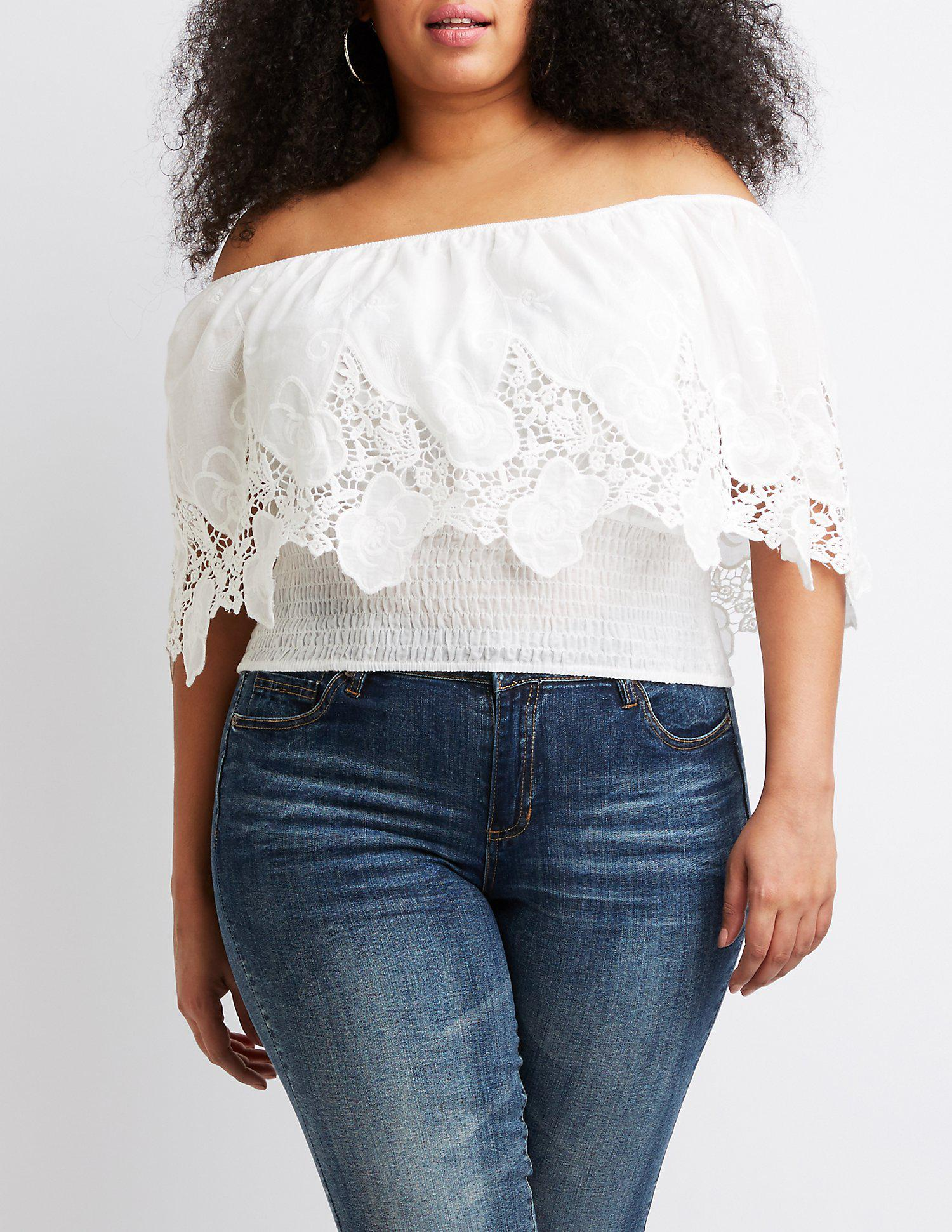 9d8f131423fb0 Lyst - Charlotte Russe Plus Size Eyelet Off-the-shoulder Top in White