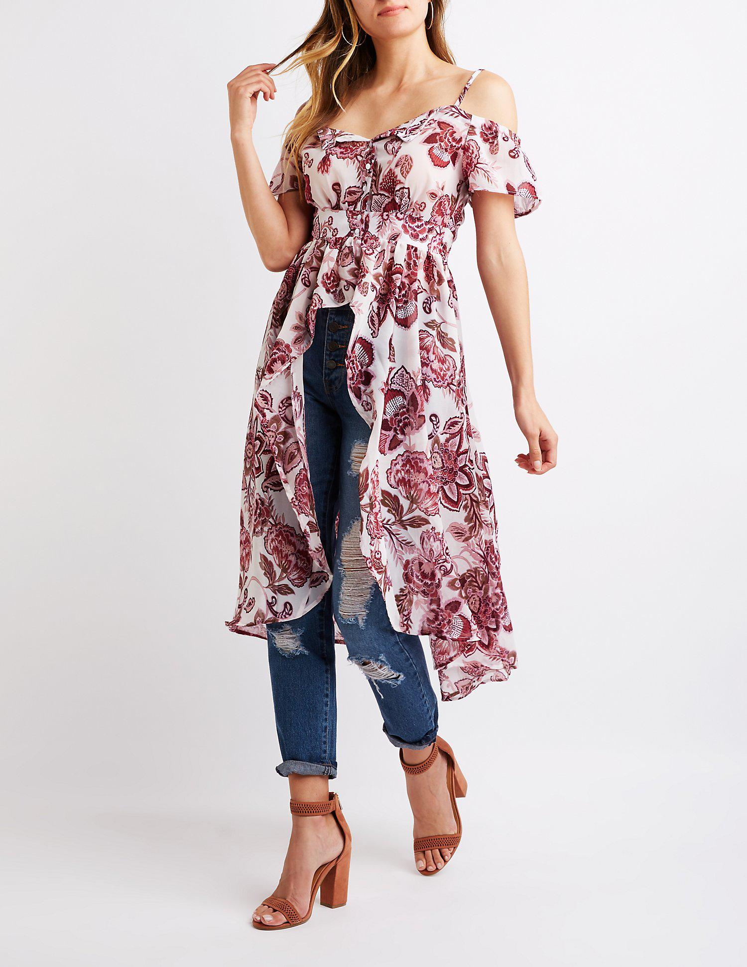 3b7e1e93a5ca4 Lyst - Charlotte Russe Floral High-low Cold Shoulder Top in Red