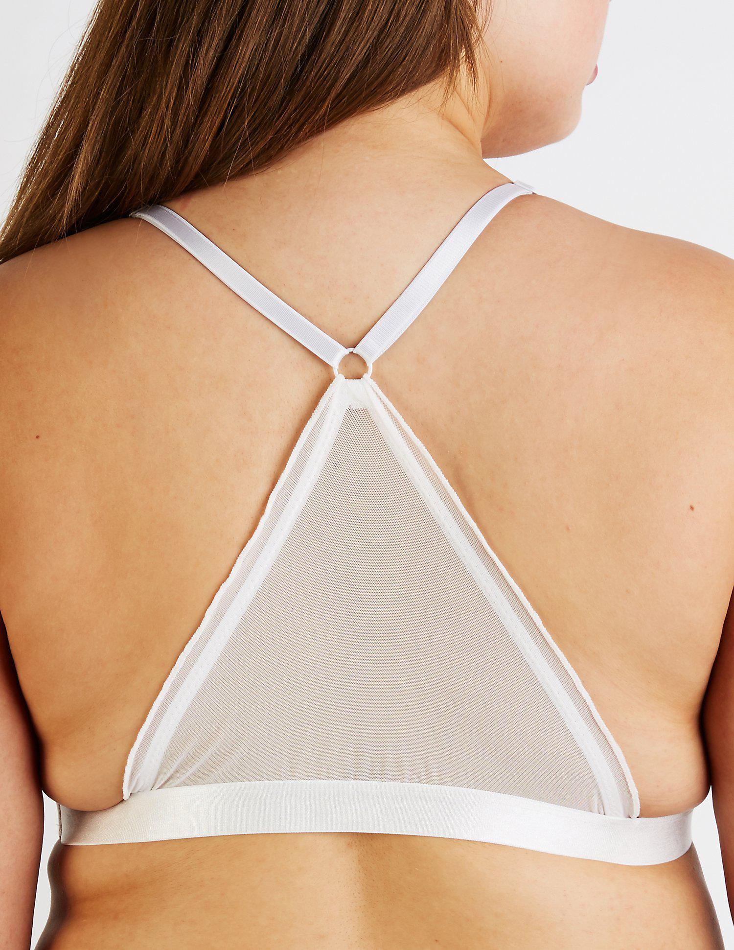 7f9d5e96a7c Charlotte Russe - White Plus Size Ruffle Mesh Bralette - Lyst. View  fullscreen