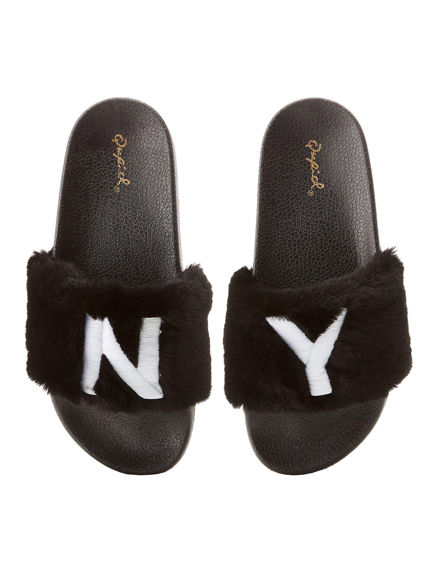 cfcfe2fb8a4 Lyst - Charlotte Russe Qupid Ny Faux Fur Slide Sandals in Black