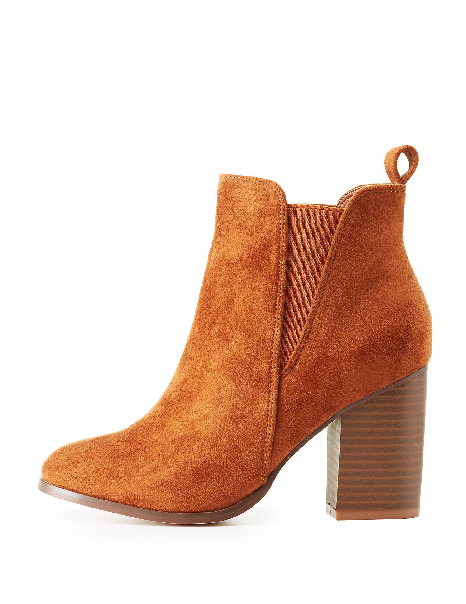 33dbd320d4eb Lyst - Charlotte Russe Gored Faux Suede Ankle Boots in Brown