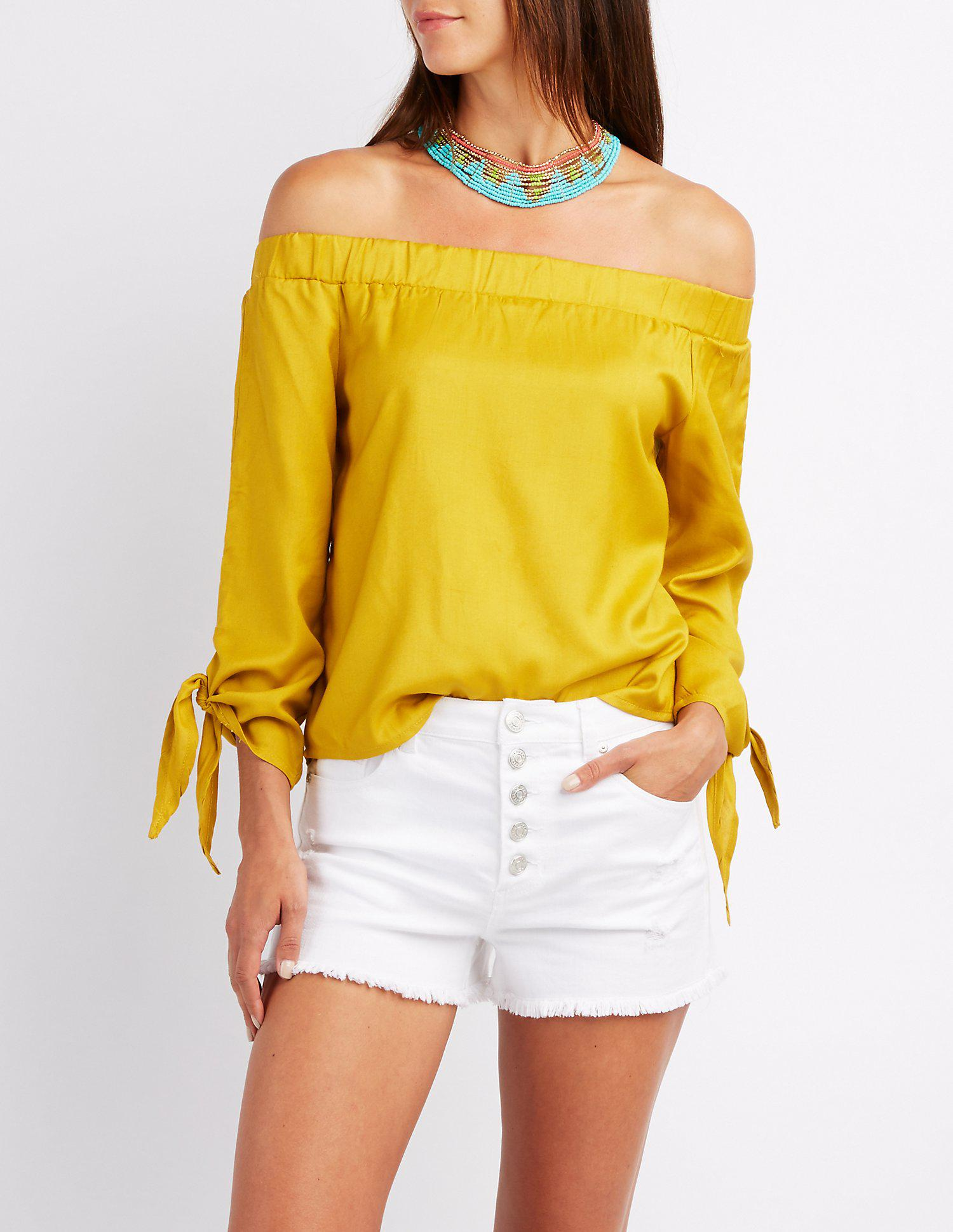 1726f514ea4 Lyst - Charlotte Russe Off-the-shoulder Tie Sleeve Top in Yellow