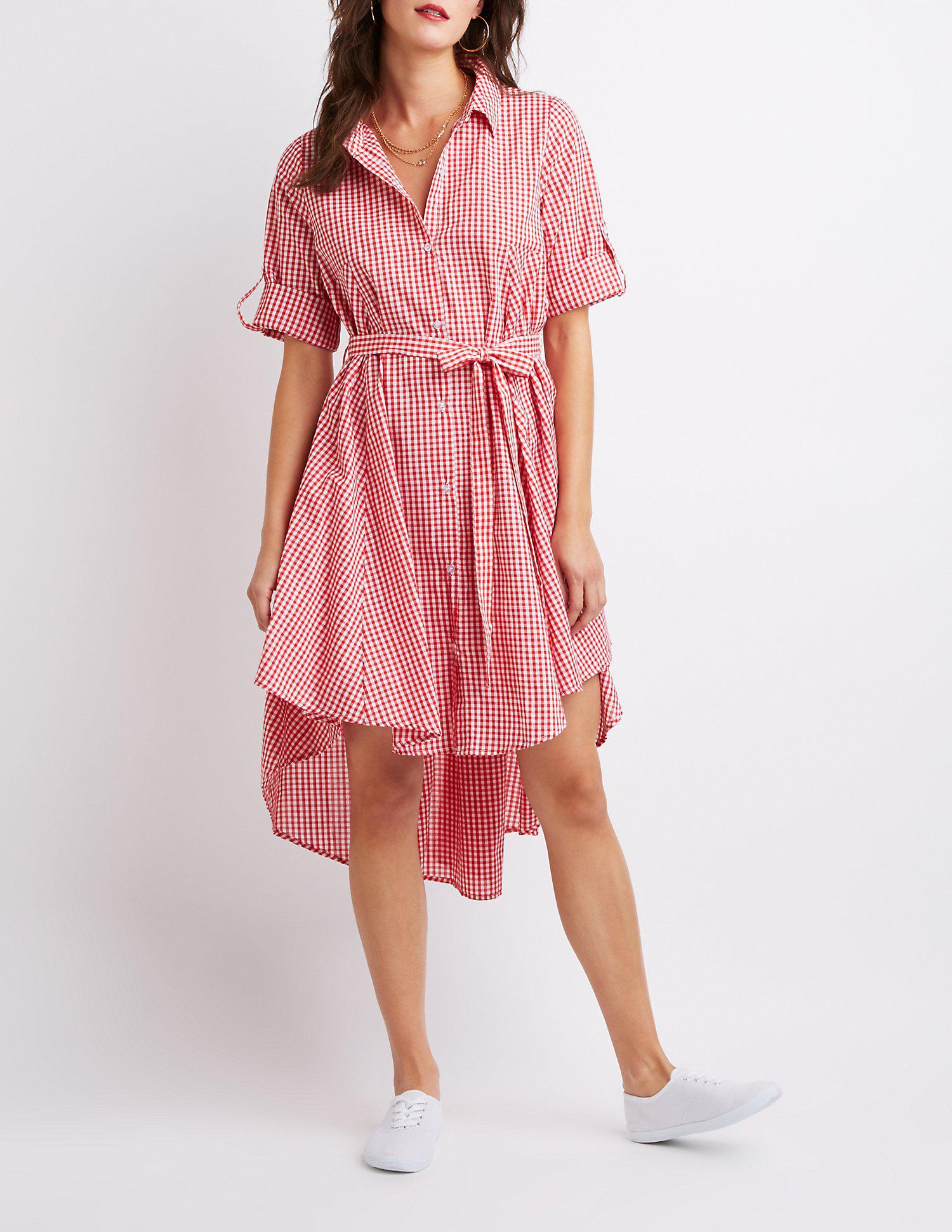 cc365faff2c Lyst - Charlotte Russe Gingham Print High-low Dress in Red