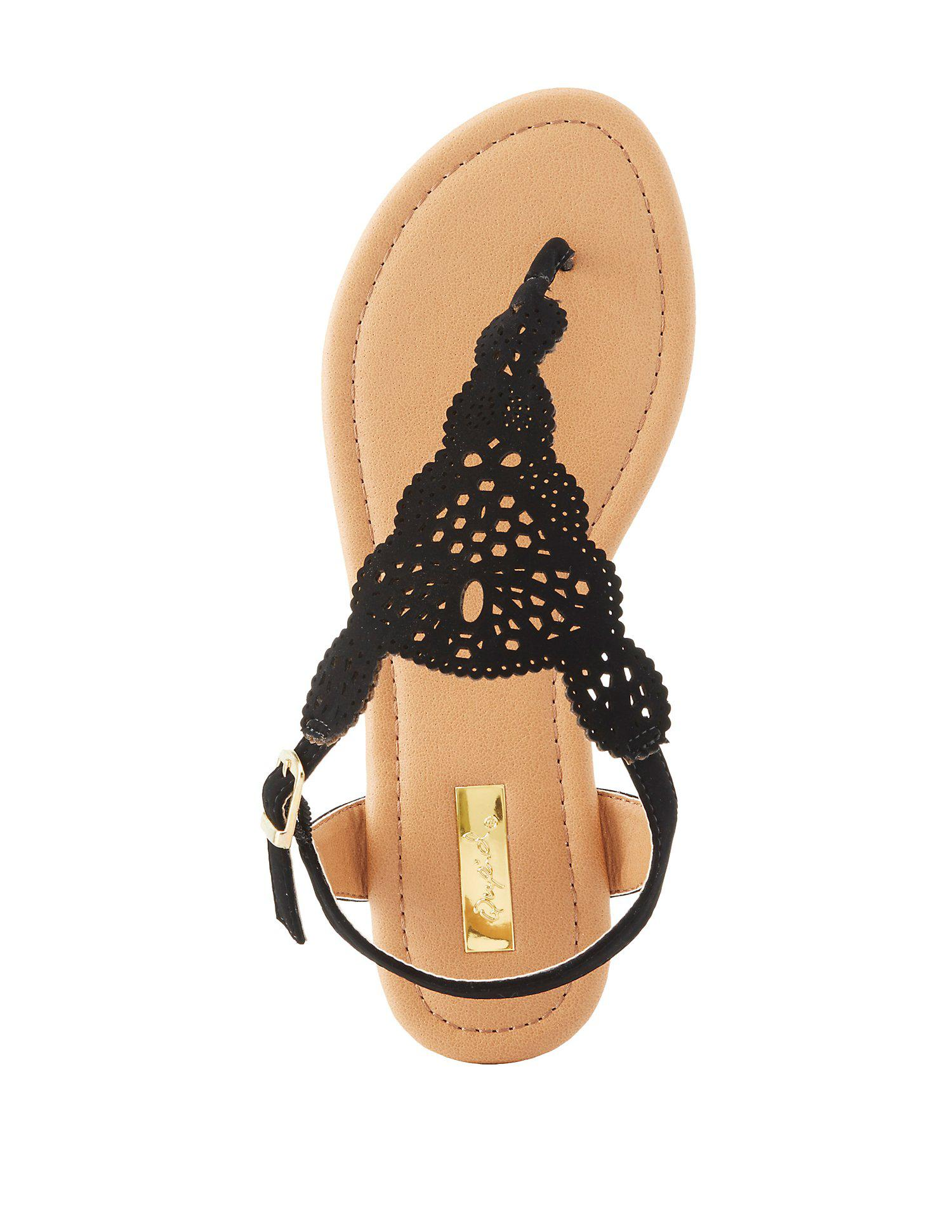 4a063b131 Lyst - Charlotte Russe Qupid Laser Cut Thong Sandals in Black