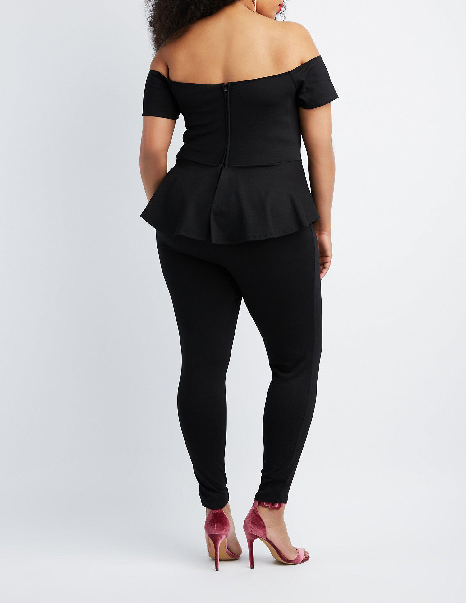 3a62ddec089 Lyst - Charlotte Russe Plus Size Off-the-shoulder Peplum Jumpsuit in ...